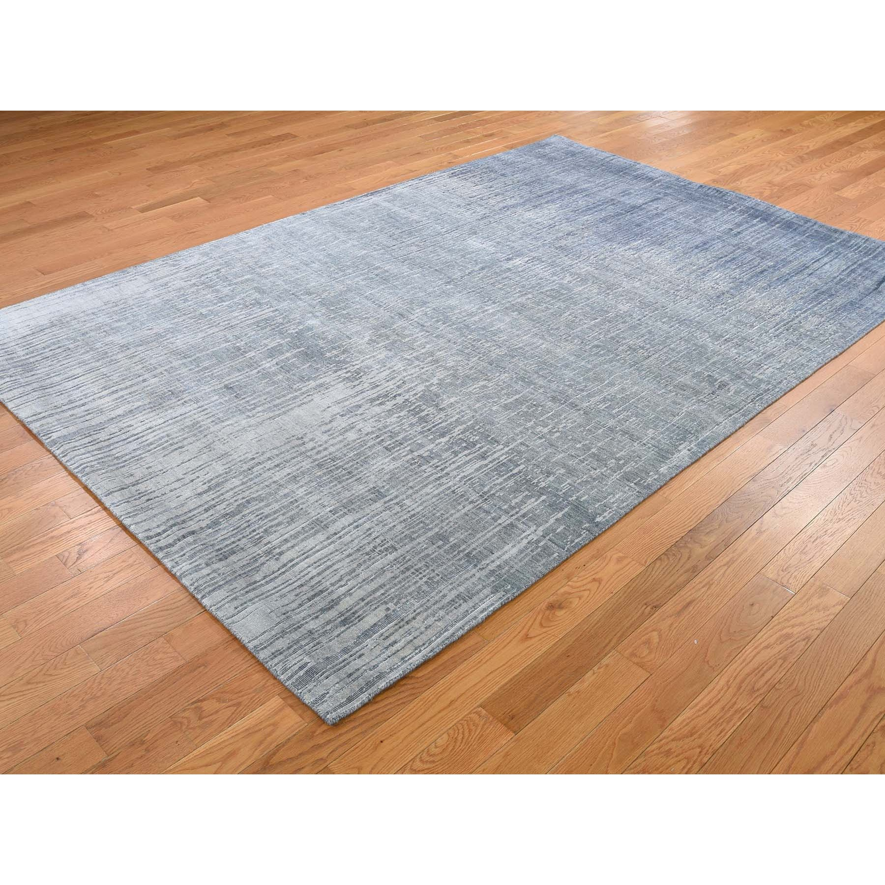 6-1 x9-2  Gray Ombre Design Pure Silk Hand Knotted Oriental Rug