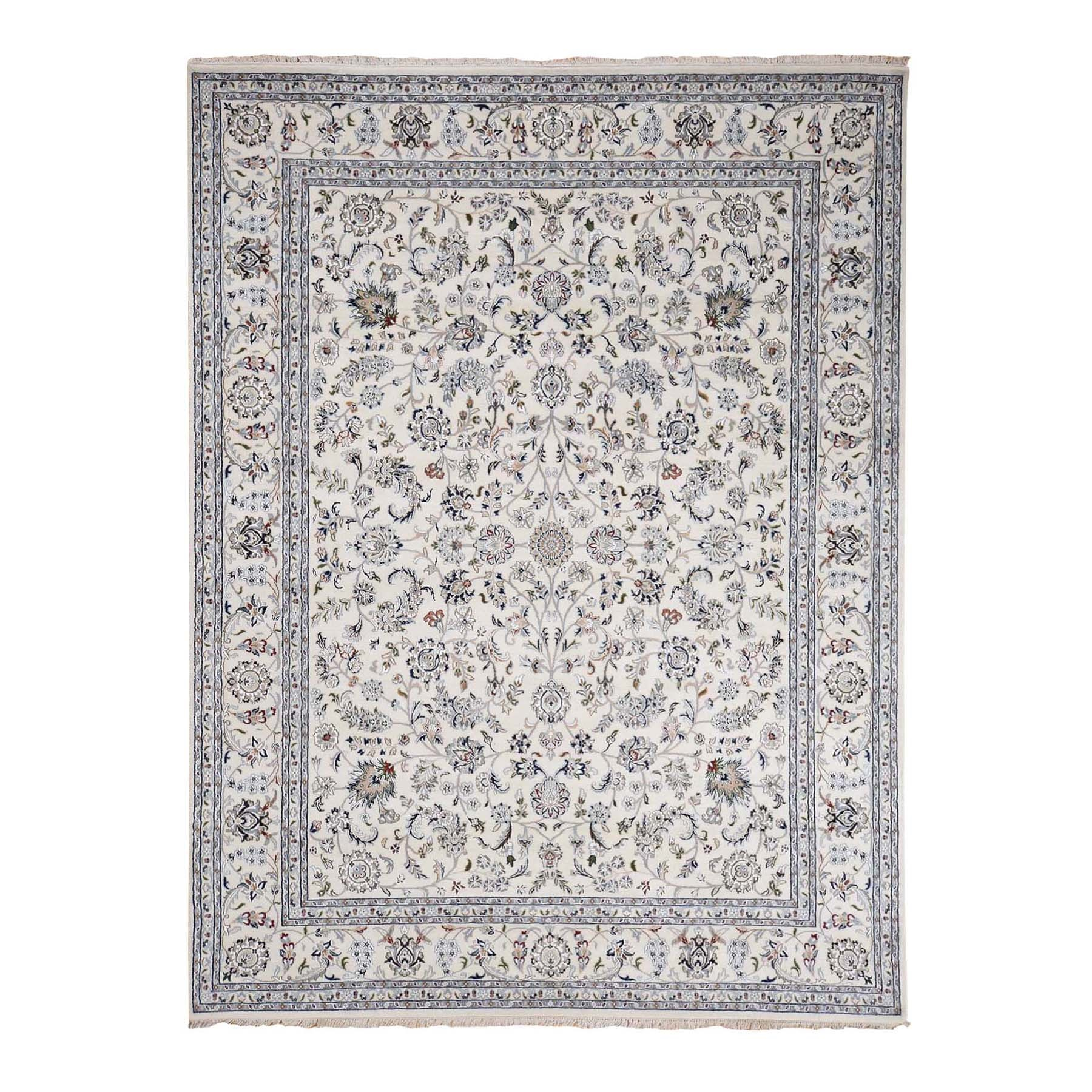 8'X10' Wool And Silk 250 Kpsi All Over Design Nain Hand Knotted Oriental Rug moad76be