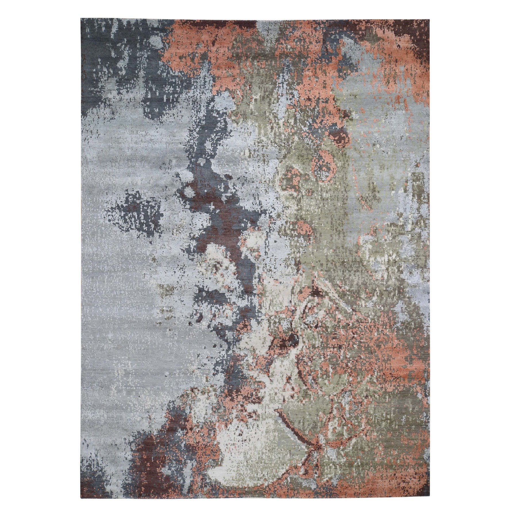 "8'10""X12' Terracotta Abstract Design Wool And Pure Silk Hi And Low Pile Hand Knotted Oriental Rug moad76c0"