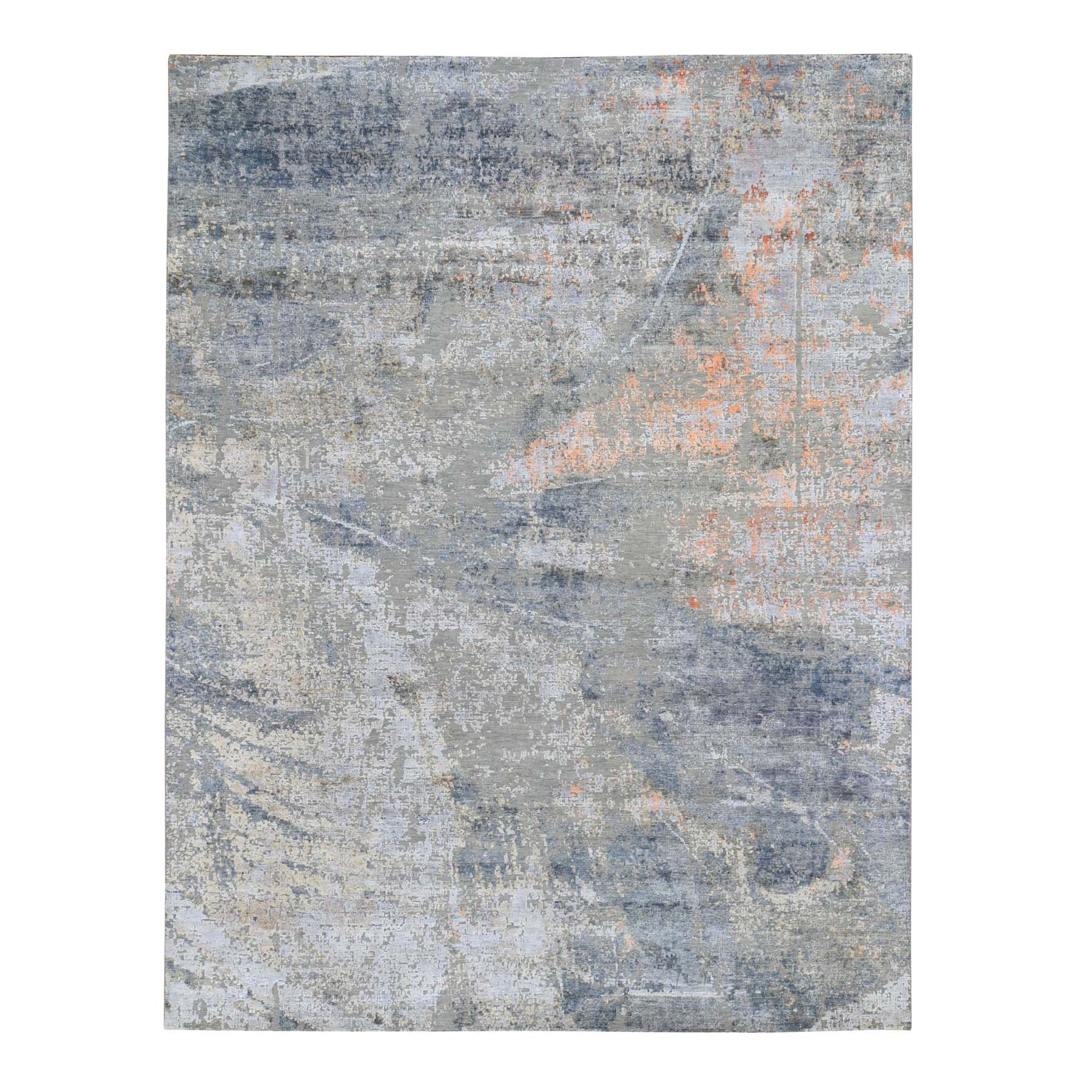 "8'X10'2"" Gray Hi-Low Pile Abstract Design Silk With Textured Wool Hand Knotted Oriental Rug moad76c6"