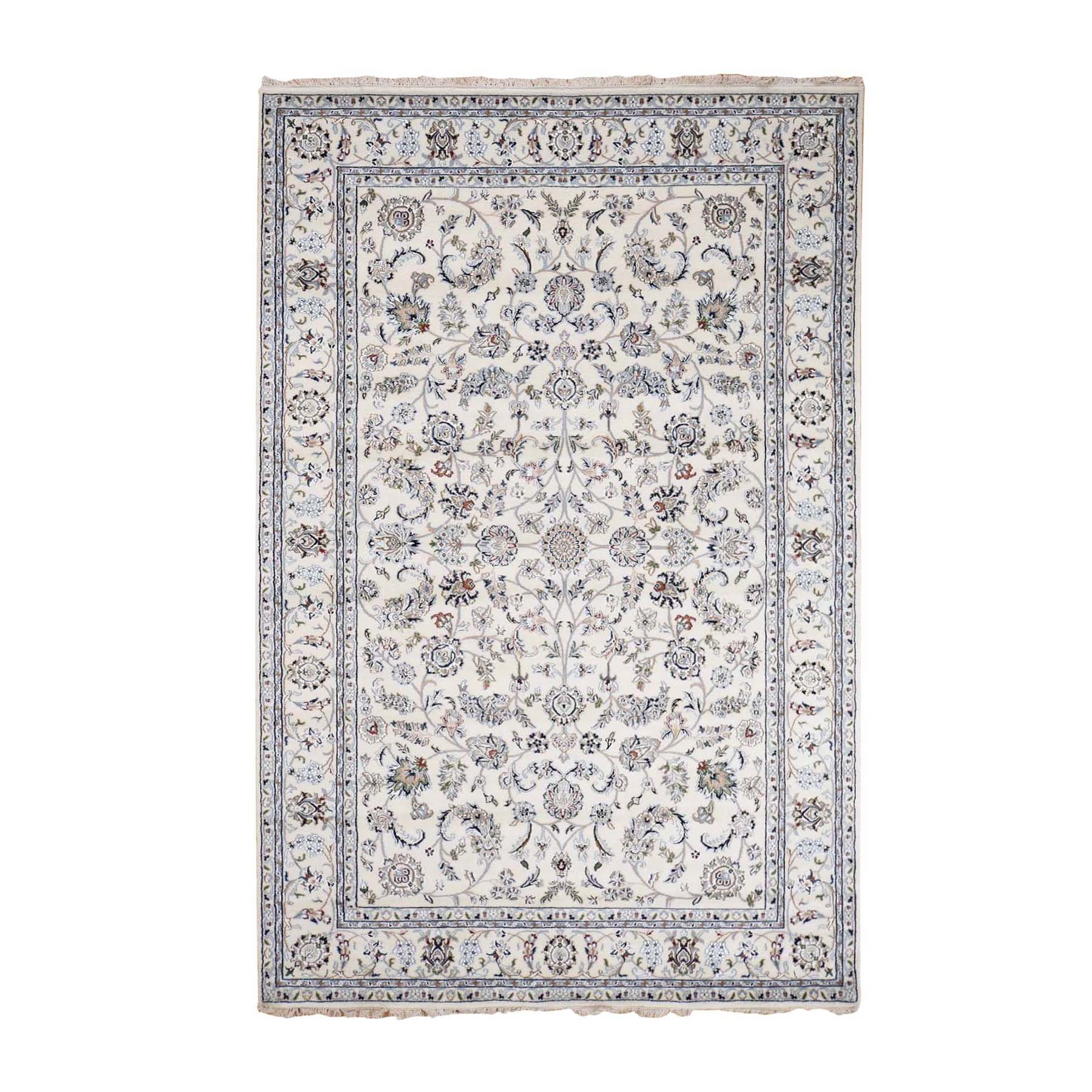 """5'9""""X8'10"""" Ivory Nain Wool And Silk All Over Design 250 Kpsi Hand Knotted Oriental Rug moad76c8"""