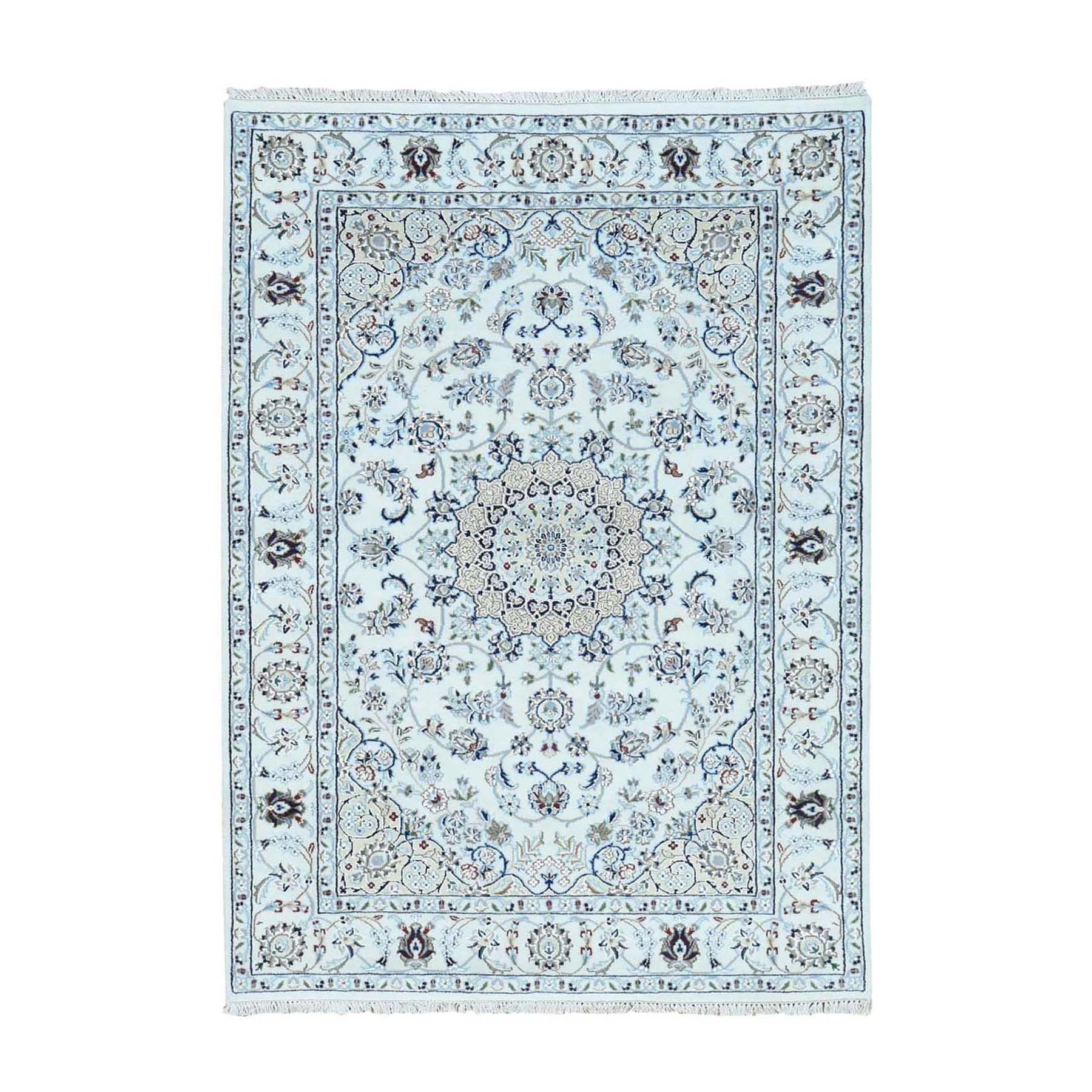 """4'X6'3""""  Ivory Nain Wool And Silk 250 Kpsi Hand Knotted Oriental Rug moad76c9"""