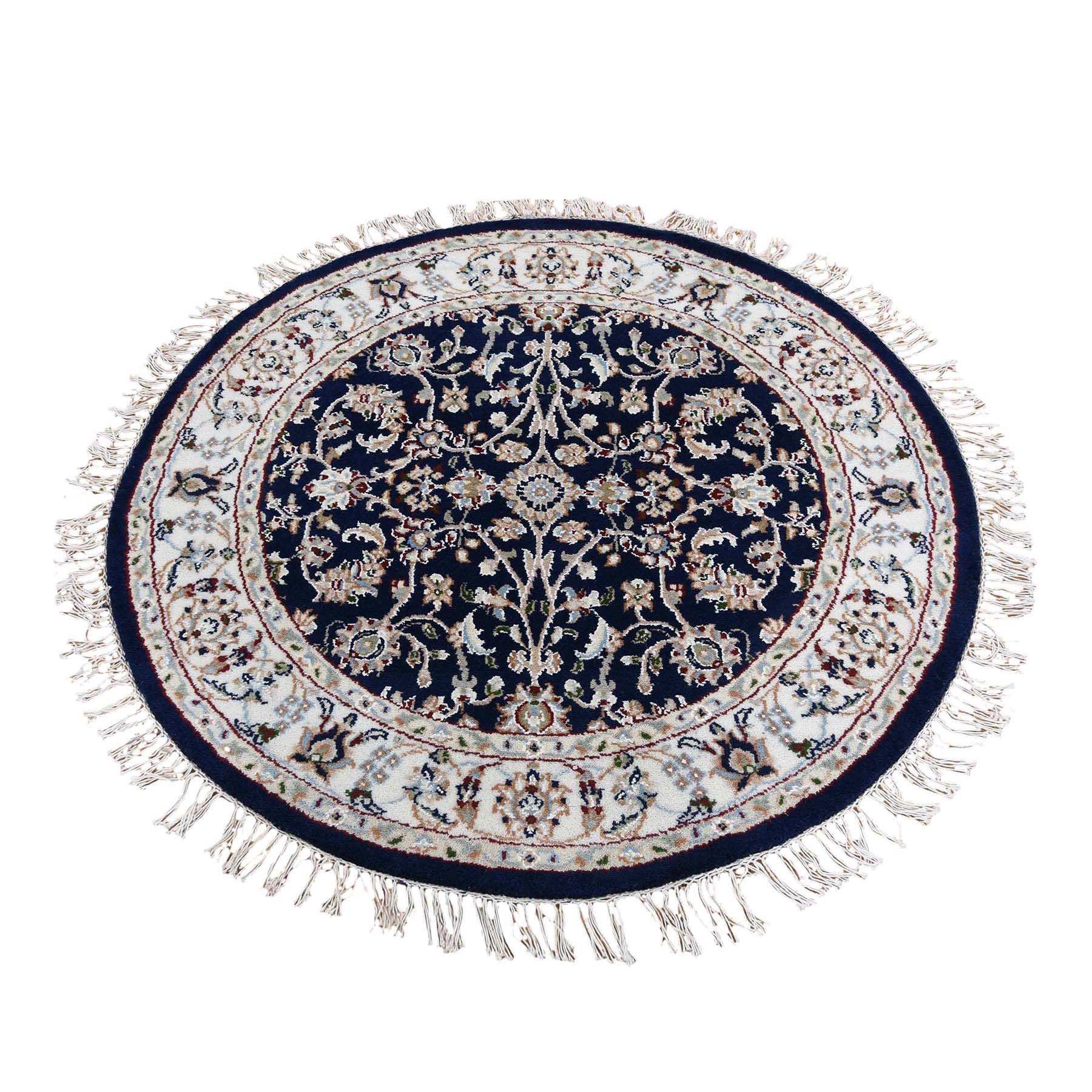 4'x4' Navy Blue Round Nain Wool And Silk All Over Design 250 KPSI Hand Knotted Oriental Rug