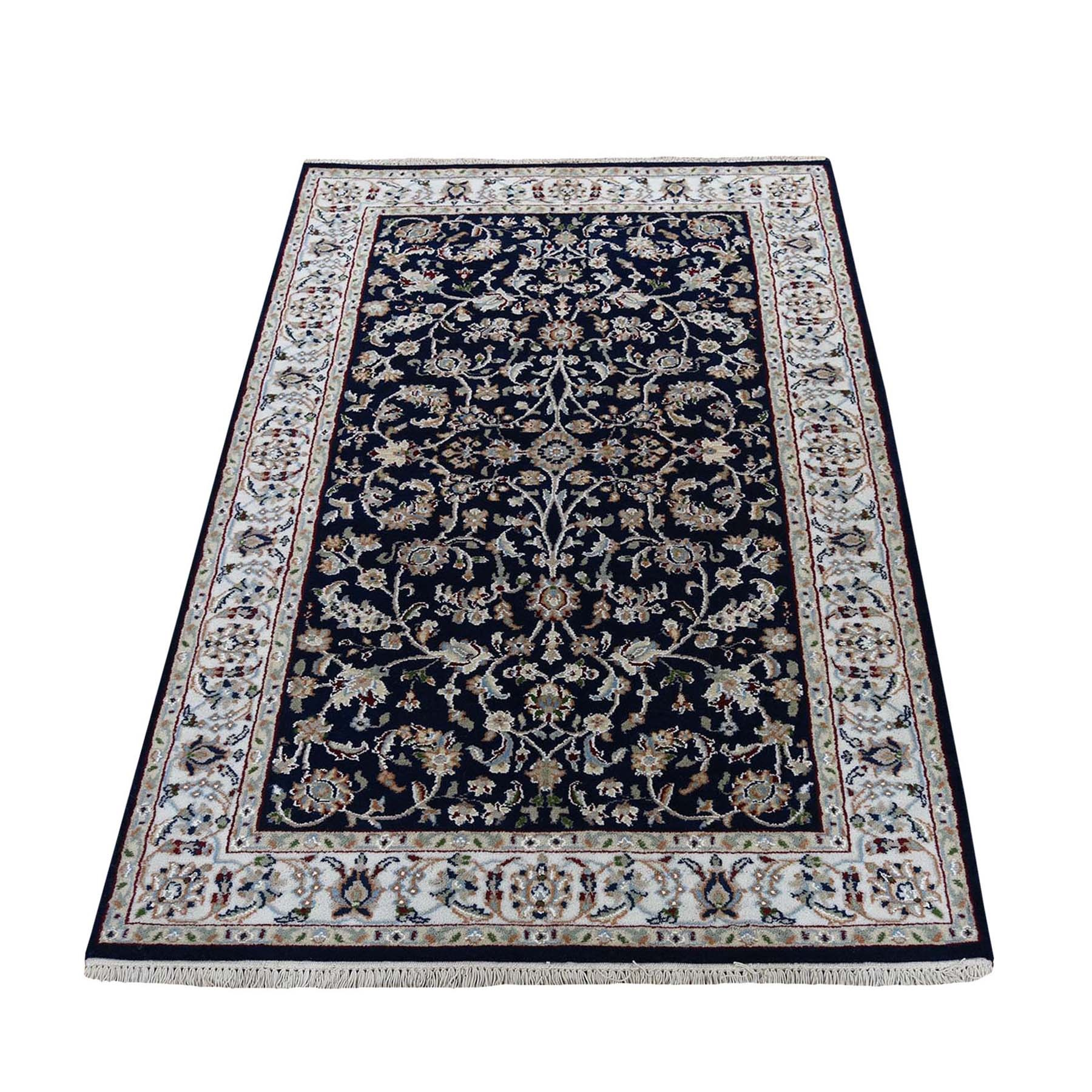 "3'X5'1"" Navy Blue Nain Wool And Silk All Over Design 250 Kpsi Hand Knotted Oriental Rug moad76dc"