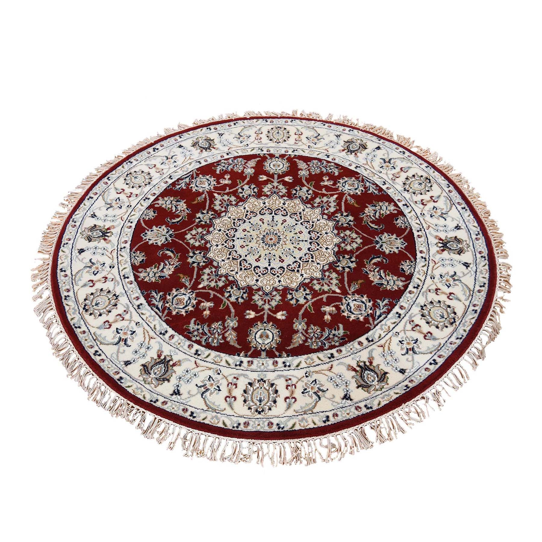 5'x5' Red Round Nain Wool And Silk 250 KPSI Hand Knotted Oriental Rug 47646