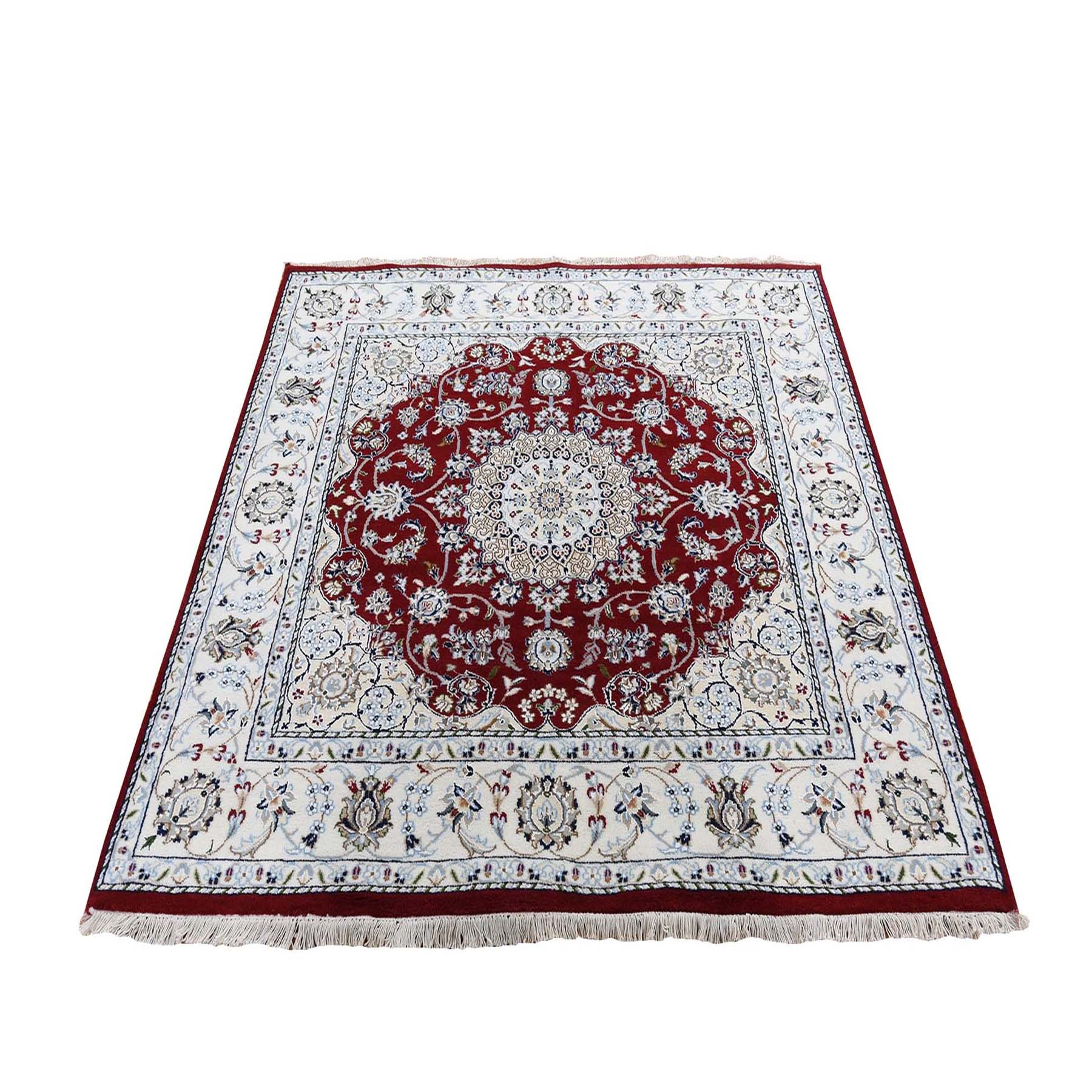6'X6' Red Square Nain Wool And Silk 250 Kpsi Hand Knotted Oriental Rug moad76d8