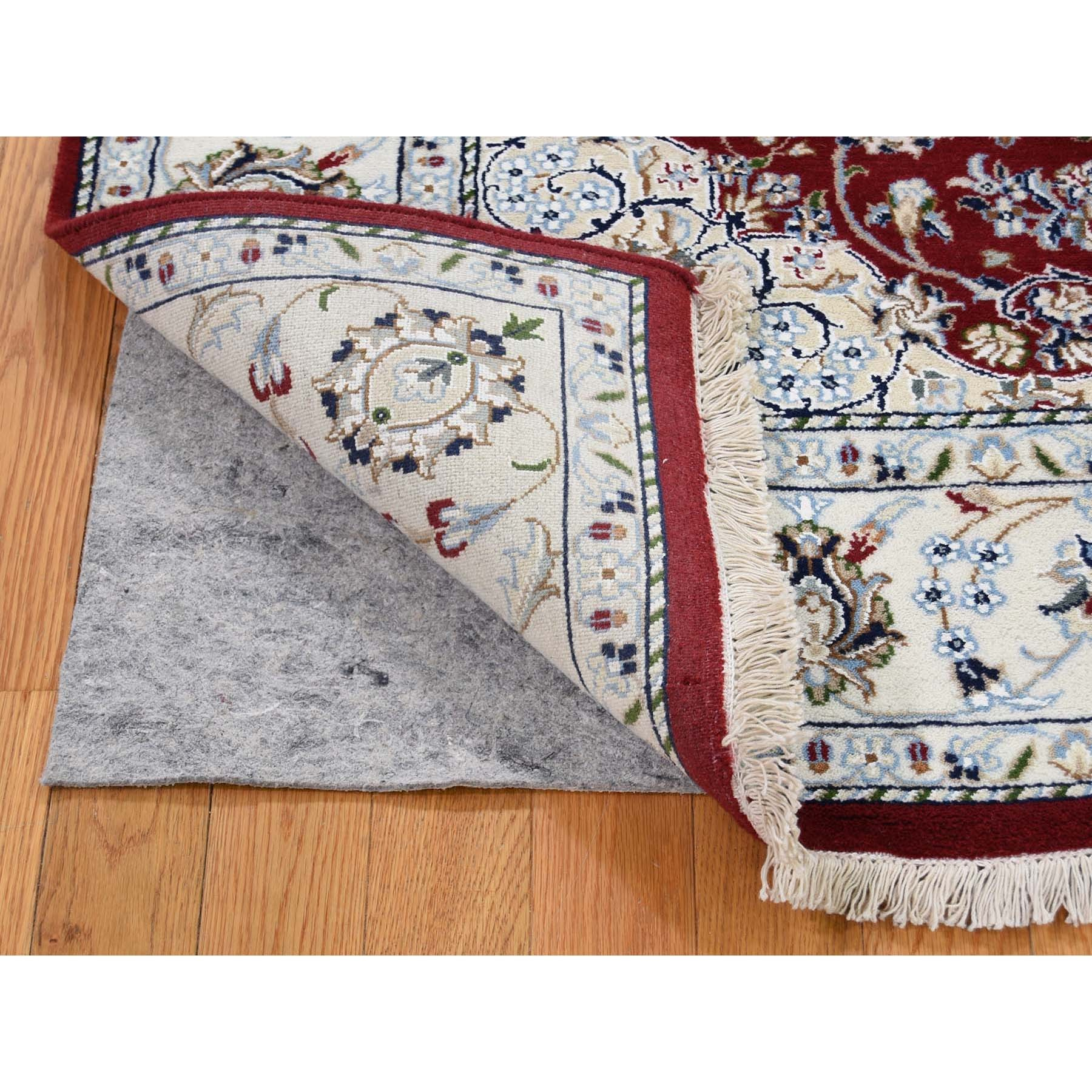 6-x6- Red Square Nain Wool And Silk 250 KPSI Hand Knotted Oriental Rug