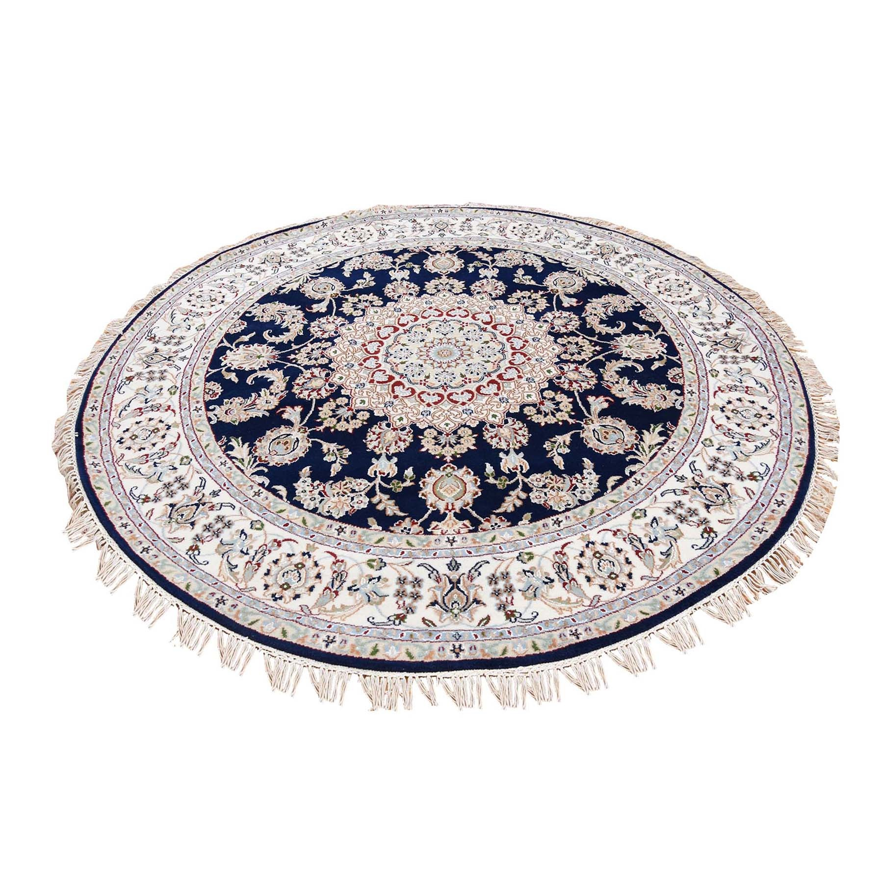 5'1X5'1 Navy Blue Round Nain Wool And Silk 250 Kpsi Hand Knotted Oriental Rug  moad76d9