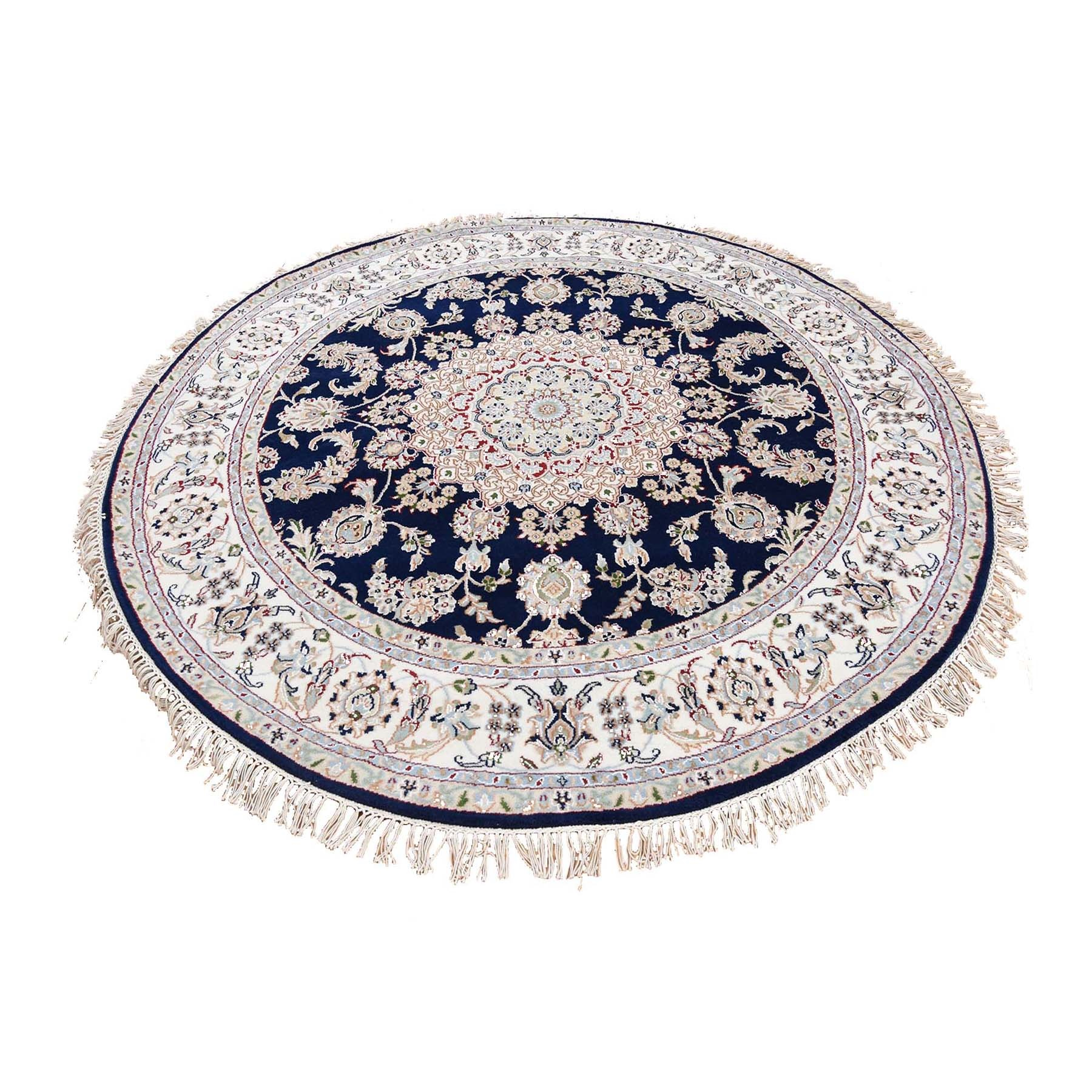 "6'1""X6'2"" Navy Blue Round Nain Wool And Silk 250 Kpsi Hand Knotted Oriental Rug moad76ea"