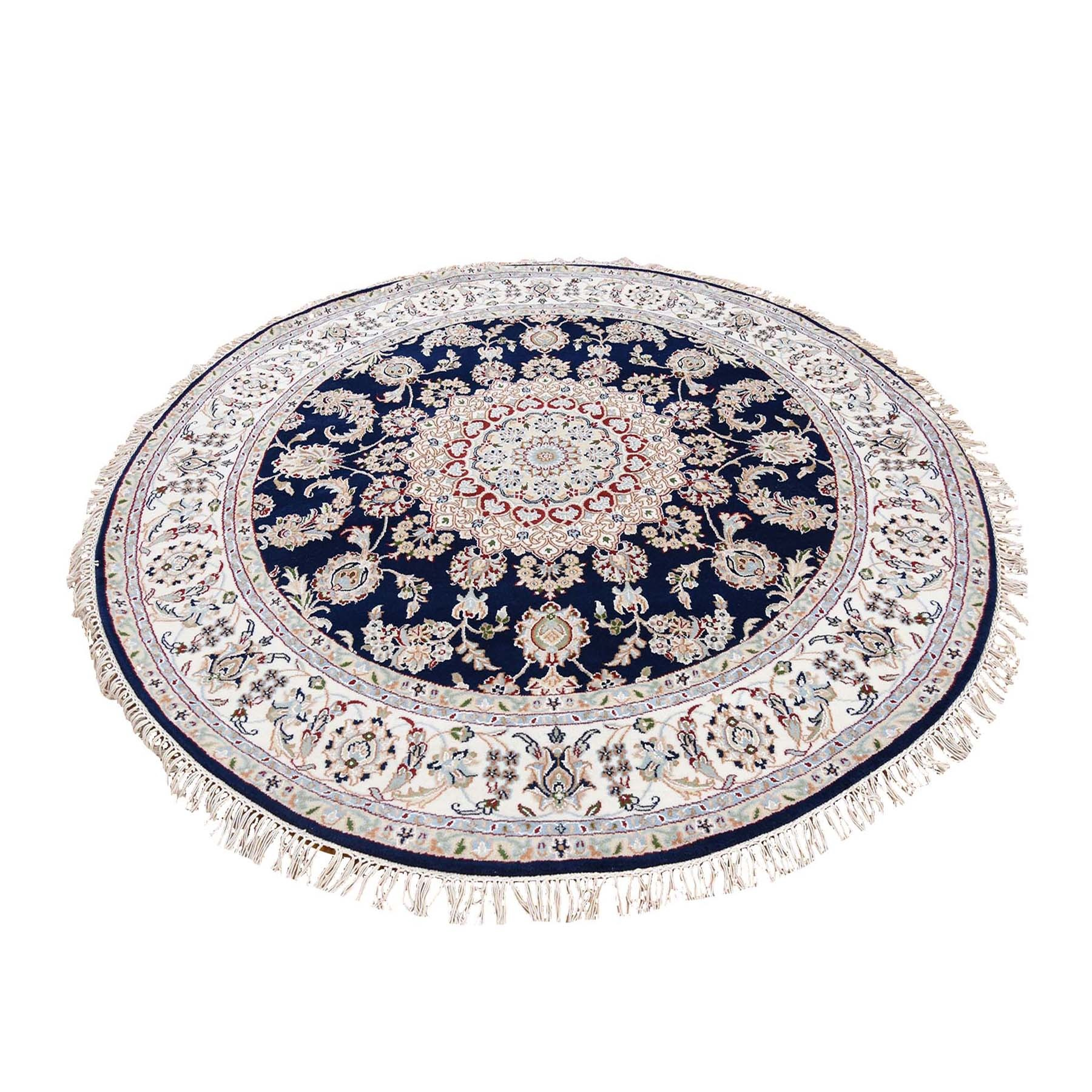 7'X7' Navy Blue Round Nain Wool And Silk 250 Kpsi Hand Knotted Oriental Rug moad76eb