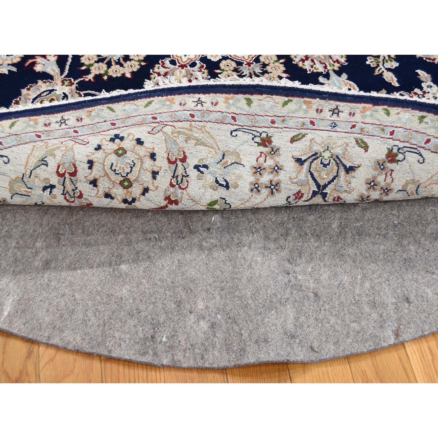 7-x7- Navy Blue Round Nain Wool And Silk 250 KPSI Hand Knotted Oriental Rug