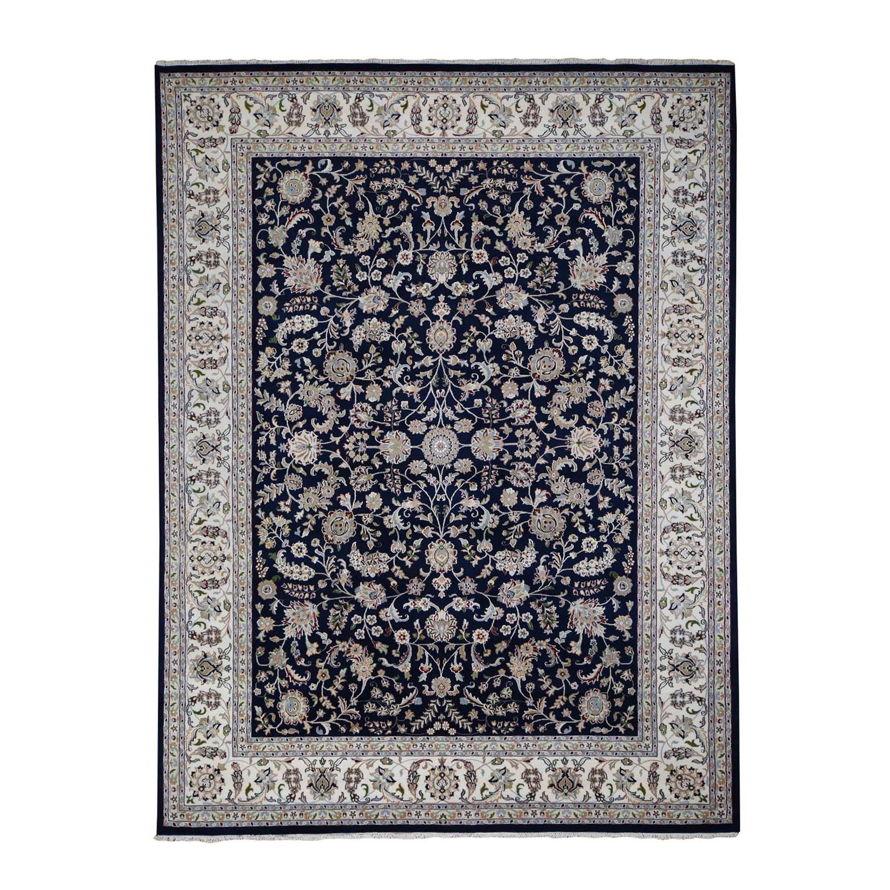 "8'1""X10'1"" Navy Blue Rectangle Nain Wool And Silk All Over Design 250 Kpsi Hand Knotted Oriental Rug moad76ec"