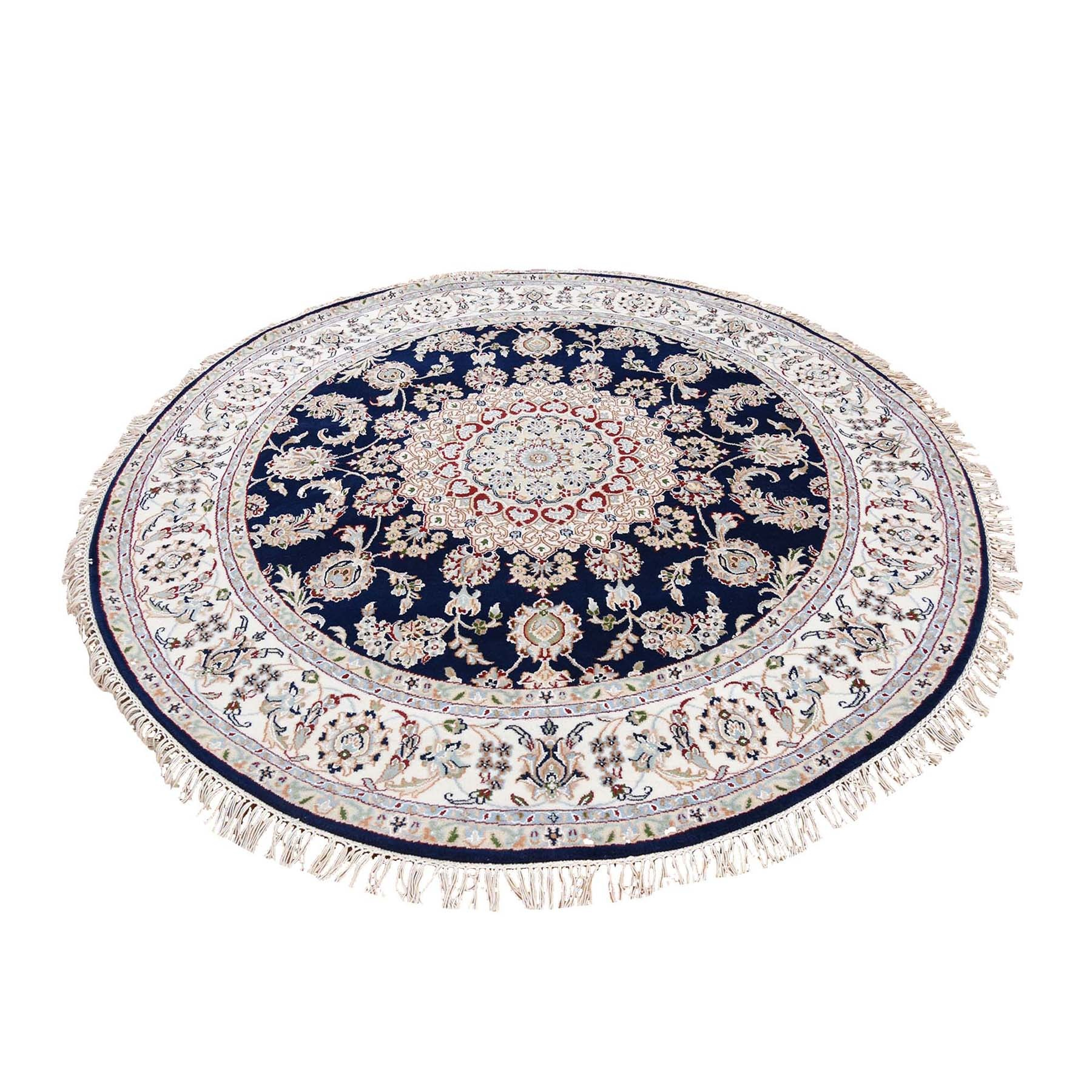 6'X6' Navy Blue Round Nain Wool And Silk 250 Kpsi Hand Knotted Oriental Rug moad76ed