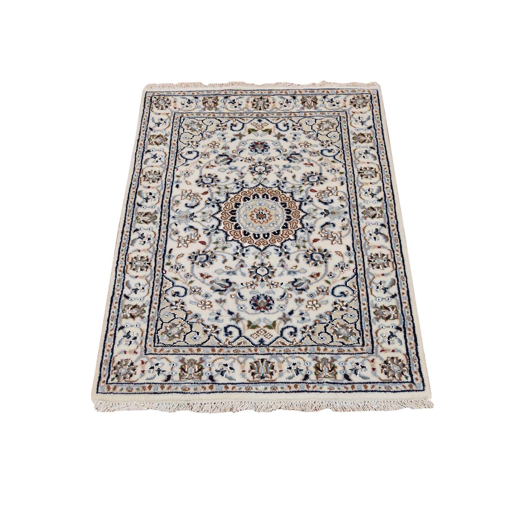 """2'x3'1"""" Wool And Silk 250 KPSI Ivory Nain Hand Knotted Oriental Rug 47656"""