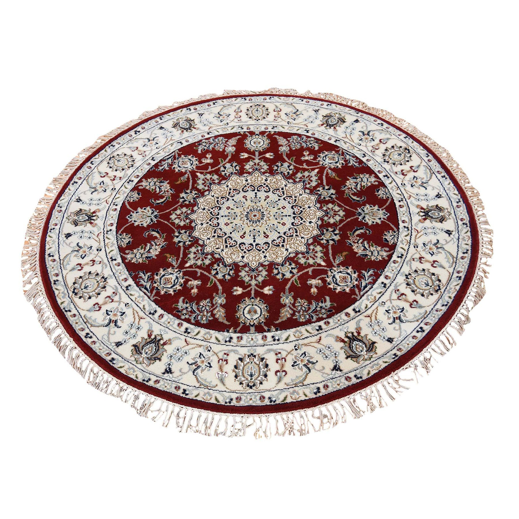 6'x6' Wool And Silk 250 Kpsi Hand Knotted Red Nain Round Hand Knotted Oriental Rug