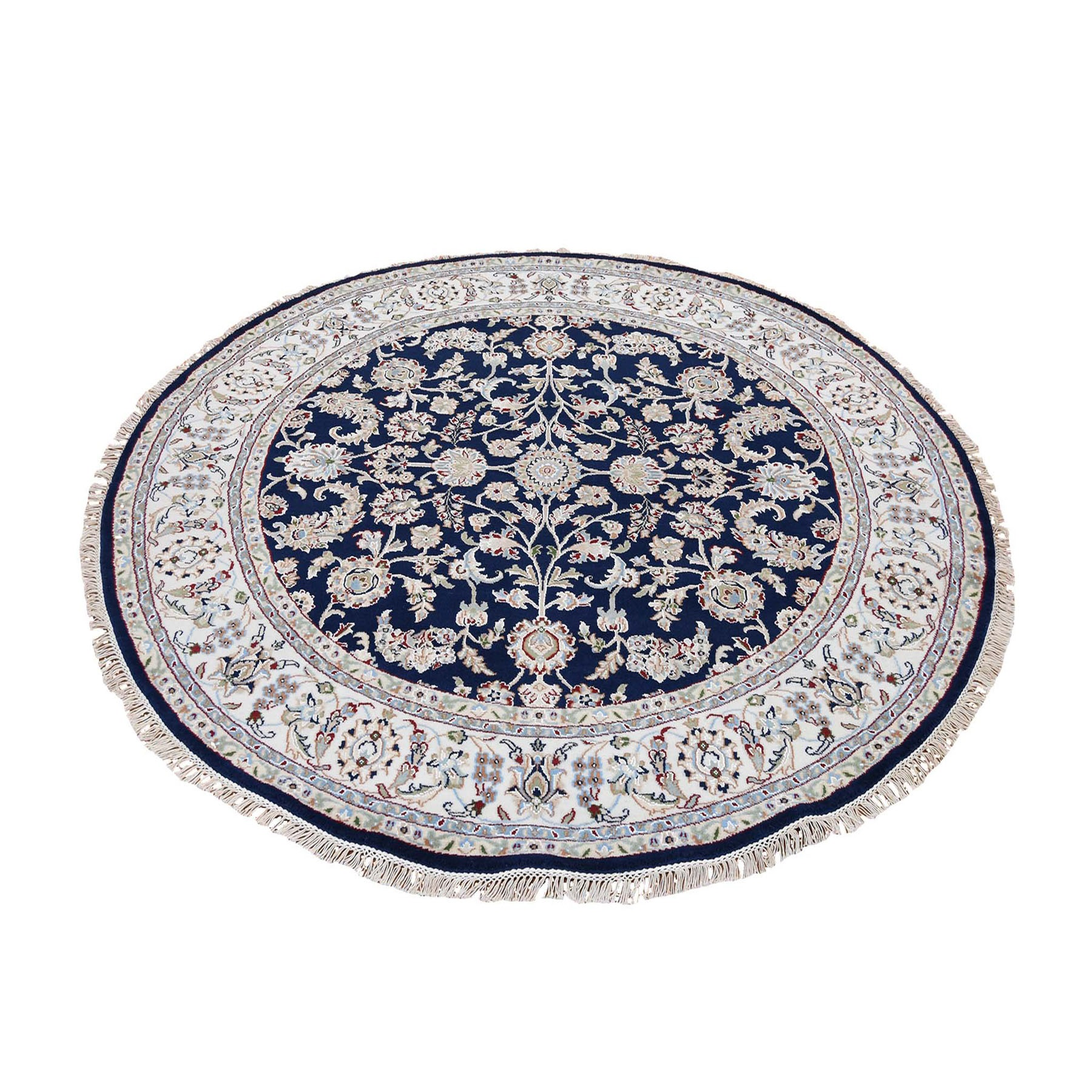 6'x6' Wool And Silk 250 KPSI Navy Nain Hand Knotted Oriental Round Oriental Rug