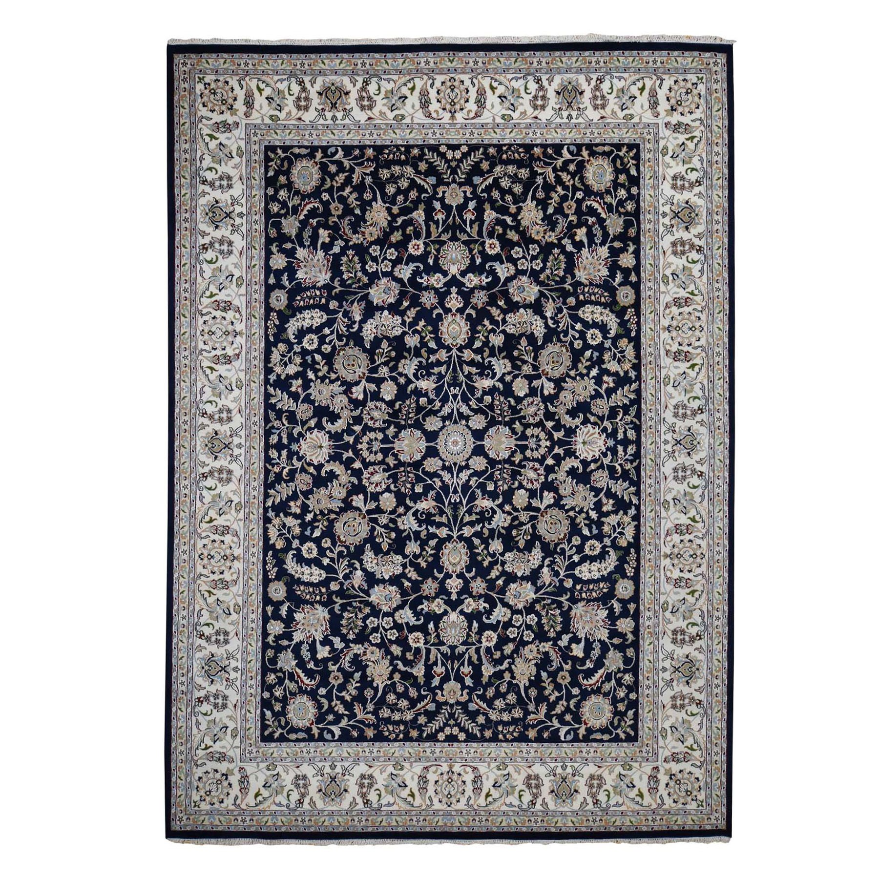 "9'x11'9"" Wool And Silk 250 KPSI All Over Design Navy Blue Nain Hand Knotted Oriental Rug"