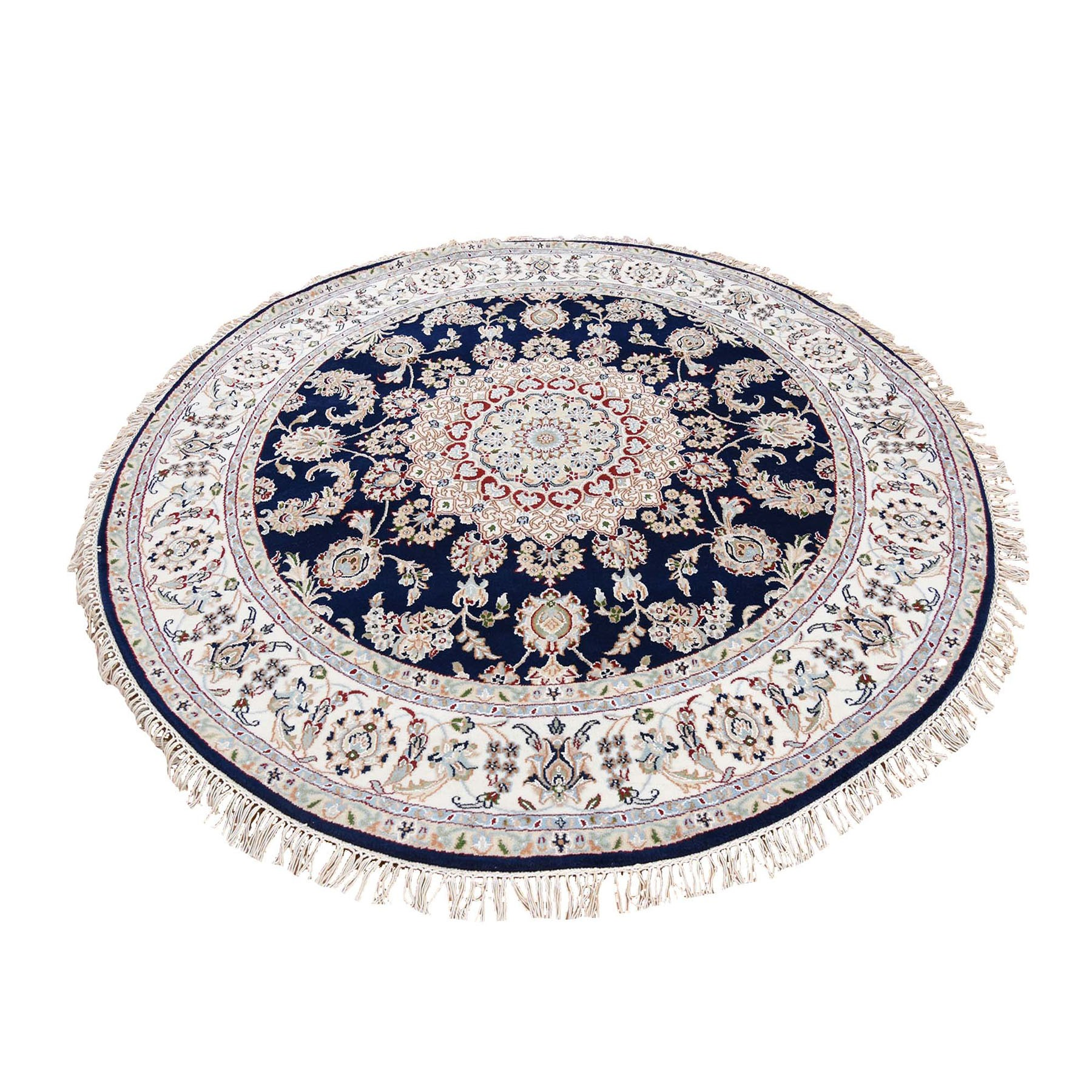 "6'10""X6'10"" Hand Knotted 250 Kpsi Wool And Silk Navy Blue Nain Round Oriental Rug moad766c"
