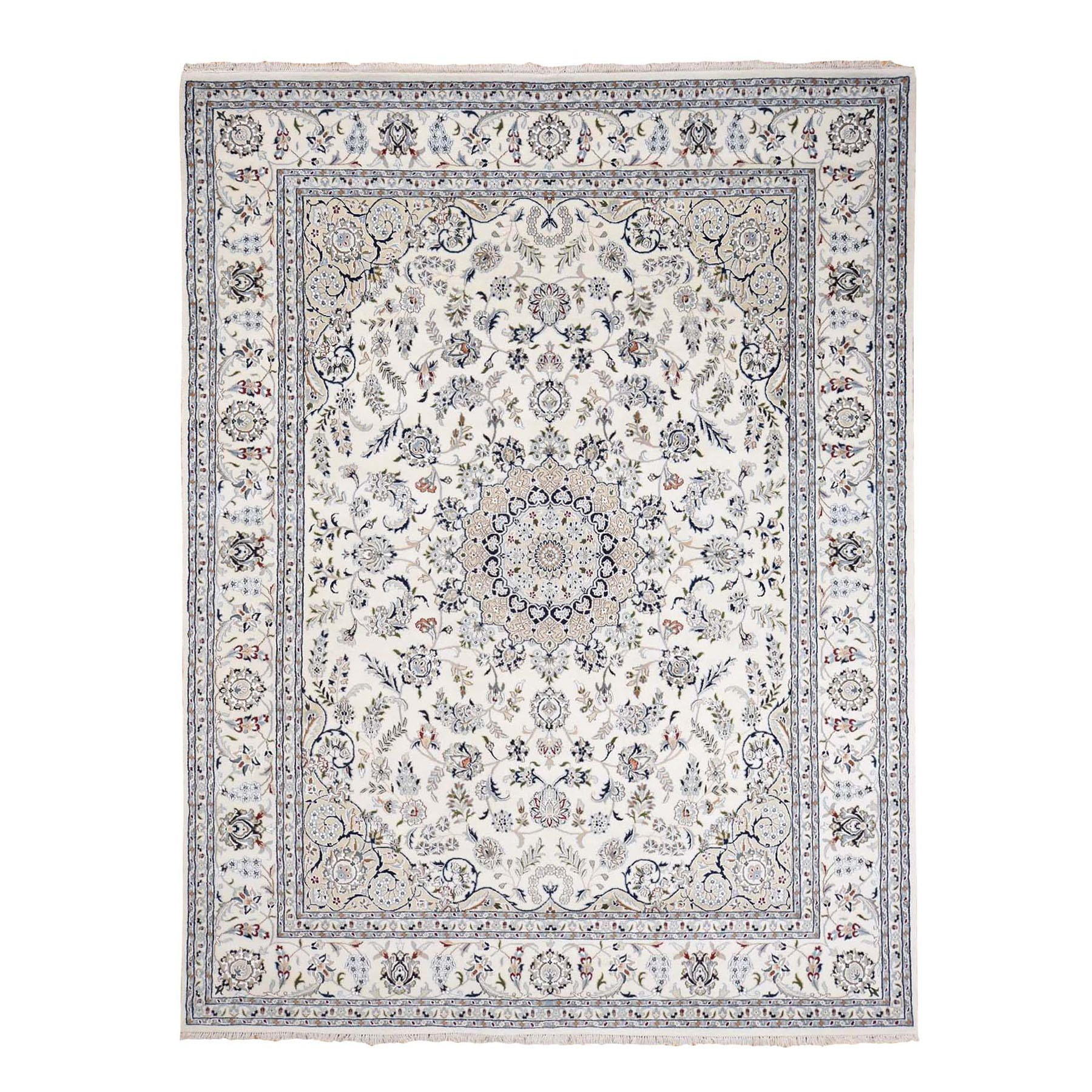 """7'9""""X10' Wool And Silk 250 Kpsi Ivory Nain Hand-Knotted Oriental Rug moad766d"""