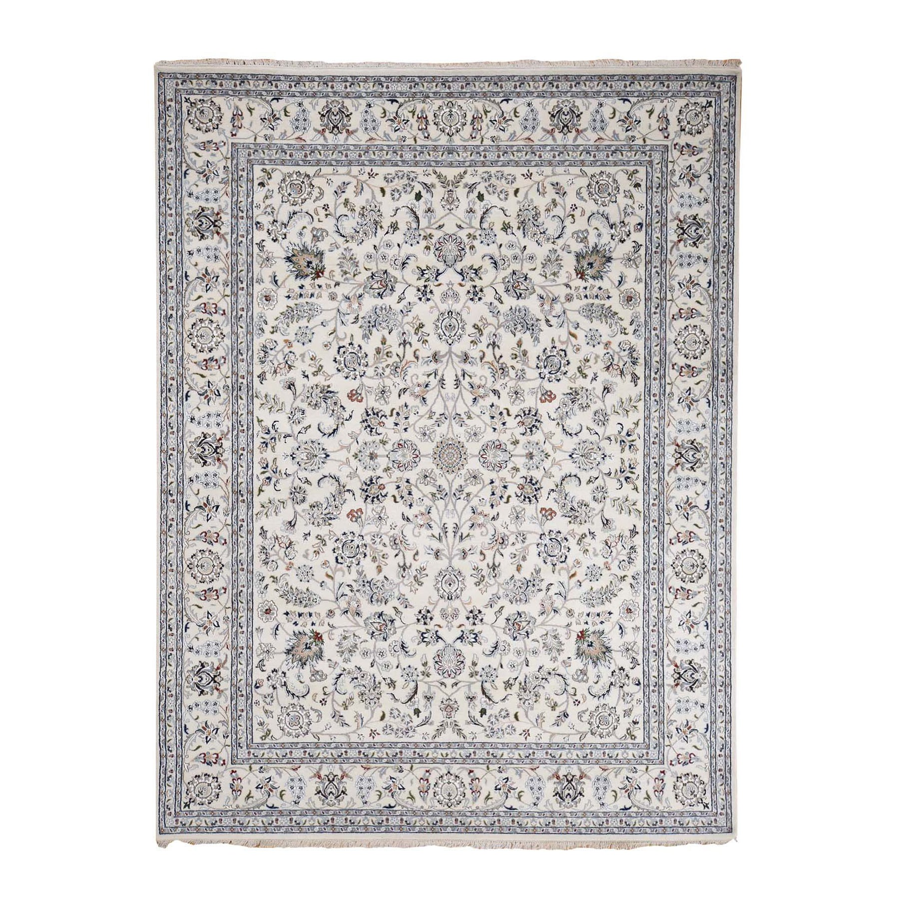 "8'1""X10'2"" Ivory Nain Wool And Silk All Over Design 250 Kpsi Hand Knotted Oriental Rug moad7666"