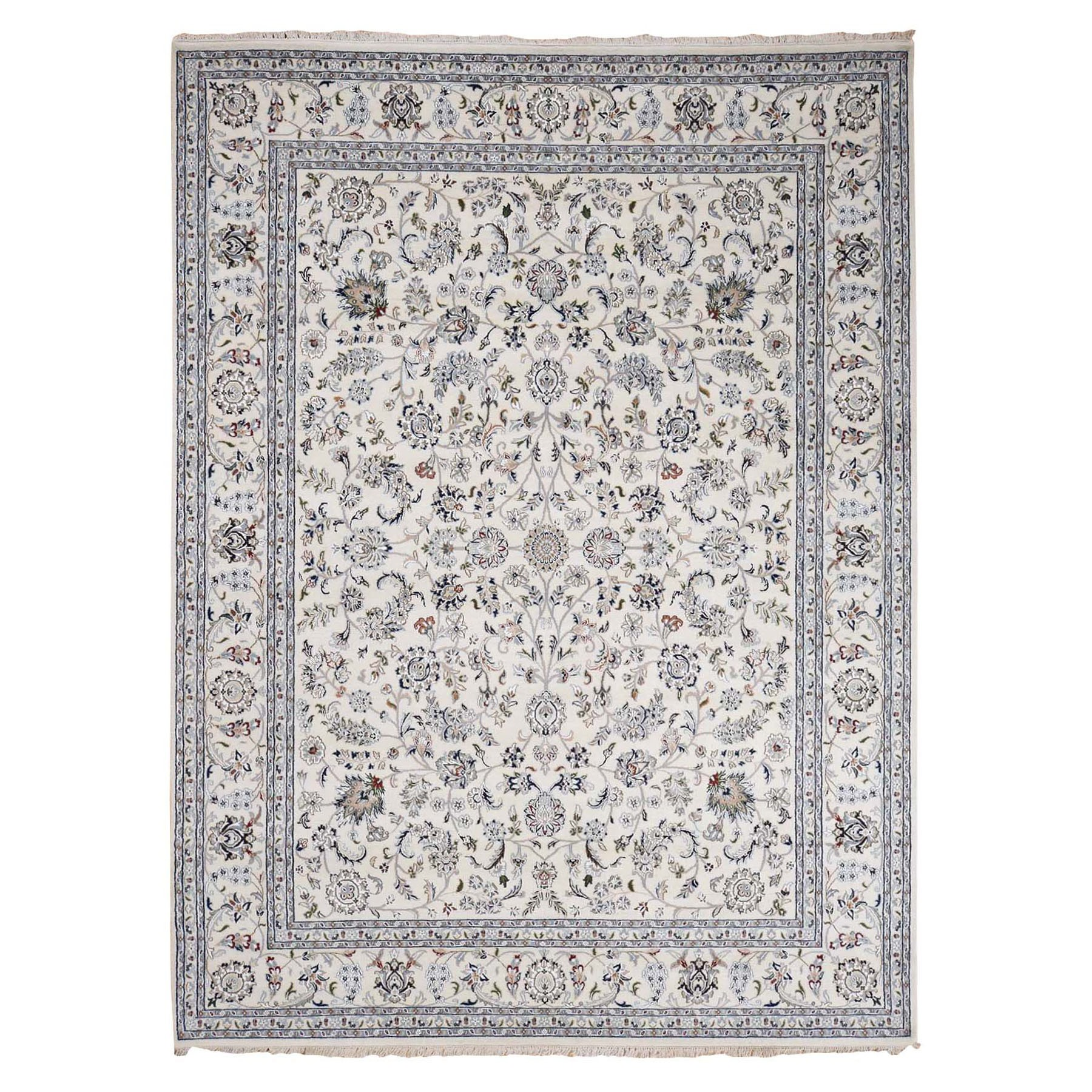 """9'x12'1"""" Ivory Nain Wool And Silk All Over Design 250 KPSI Hand Knotted Oriental Rug"""
