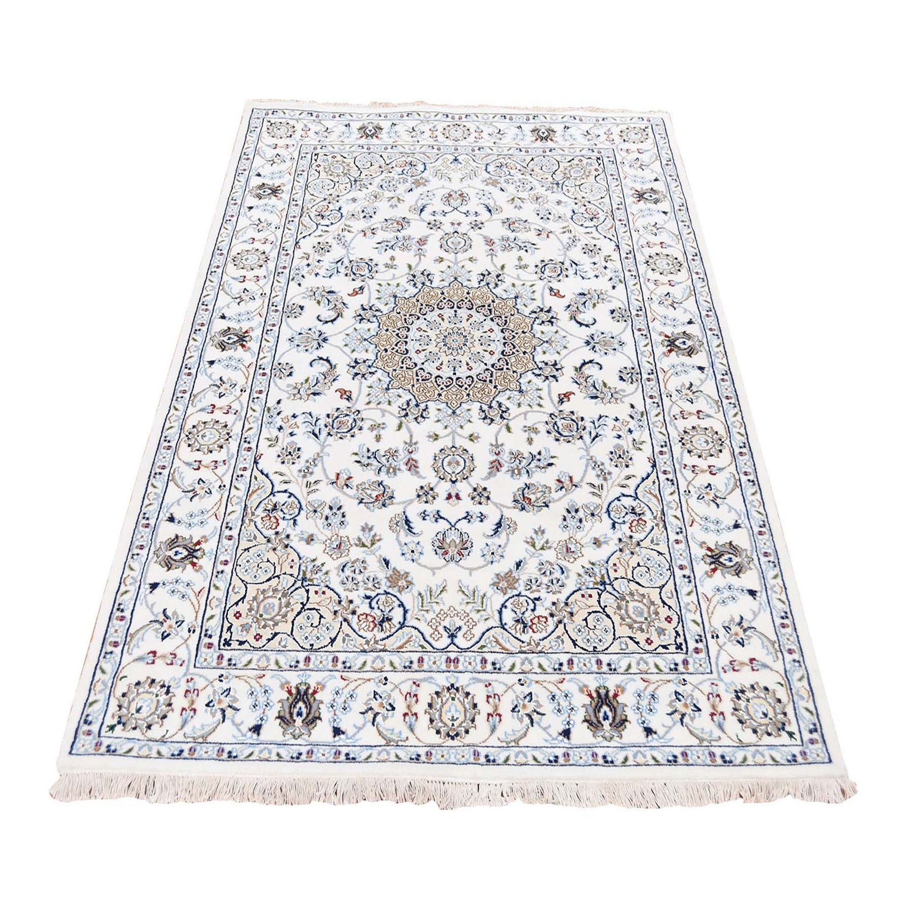 """3'10""""x6' Ivory Nain Wool And Silk 250 KPSI Hand Knotted Oriental Rug"""