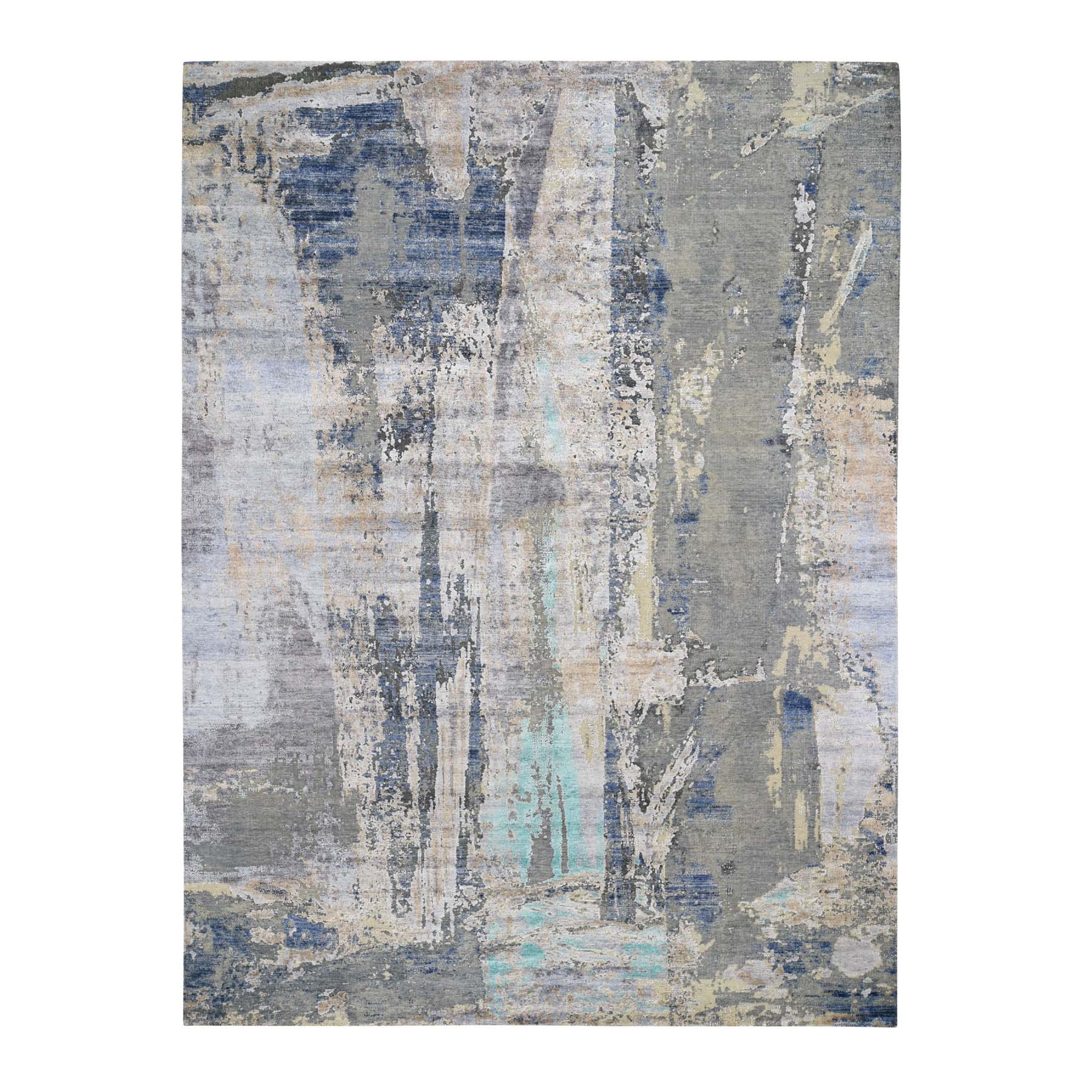 "8'9""X11'10"" Teal Hi-Low Pile Abstract Design Silk With Textured Wool Hand Knotted Oriental Rug moad767d"