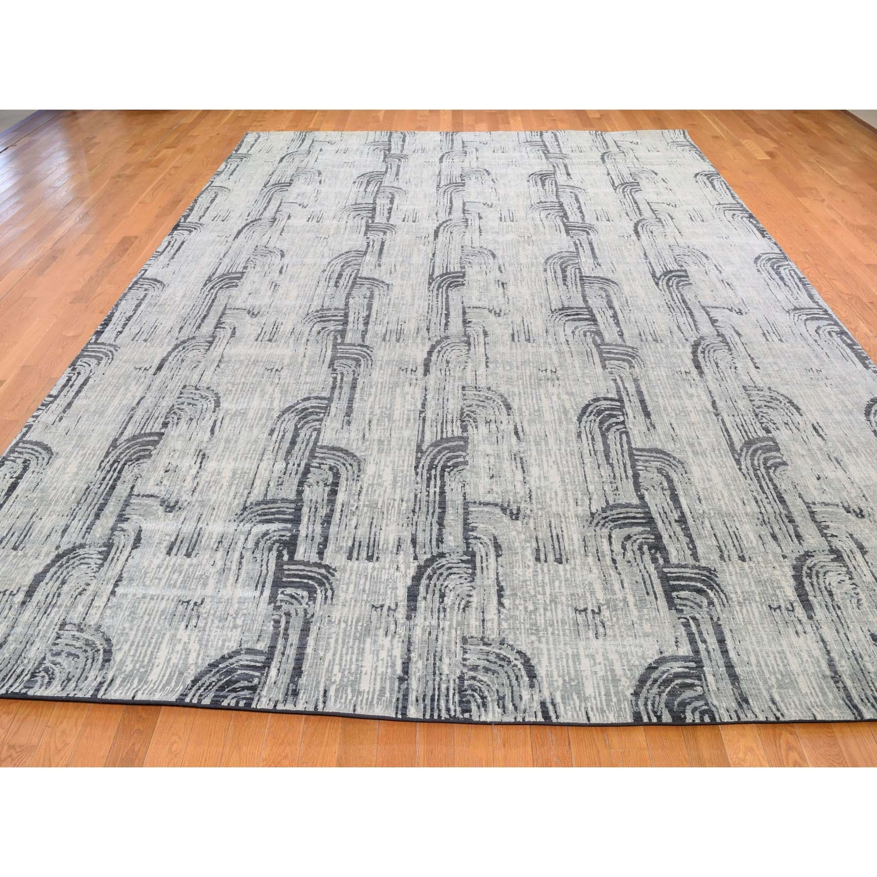 10-x14-5  THE CANE, Pure Silk With Textured Wool Hand-Knotted Oriental Rug
