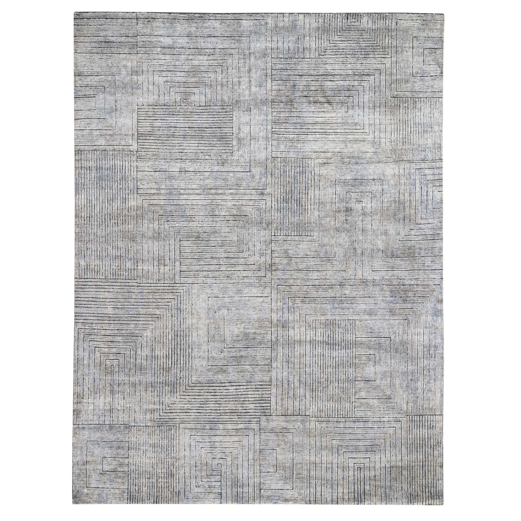 "7'10""X9'10"" Gray Silk With Textured Wool Maze Design Hand Knotted Oriental Rug moad7676"