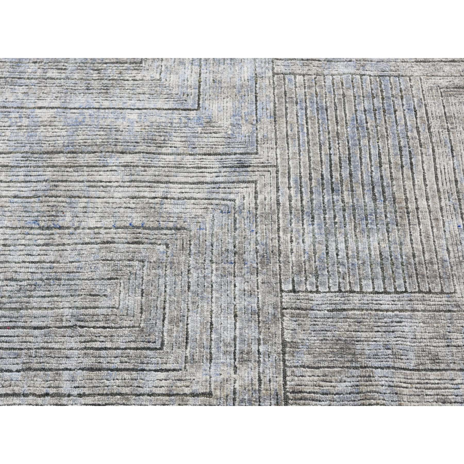 7-10 x9-10  Gray Silk With Textured Wool Maze Design Hand Knotted Oriental Rug