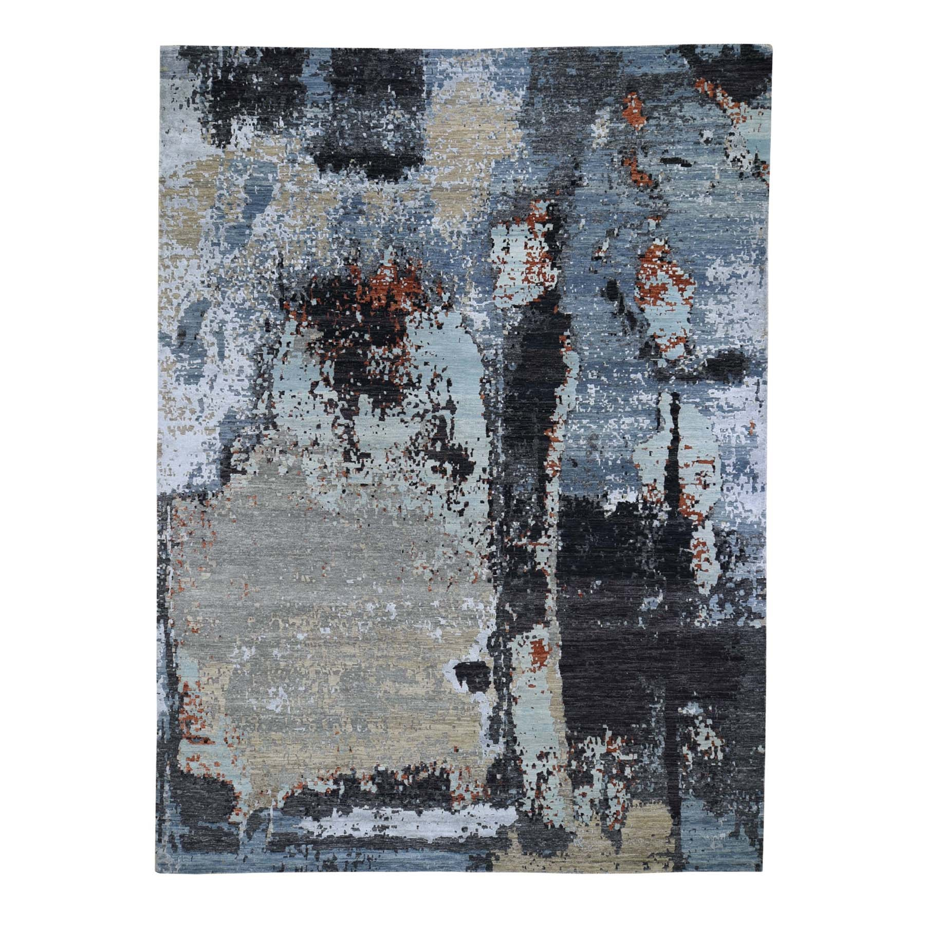"9'X12'1"" Black Abstract Design Wool And Silk Hi-Low Pile Persian Knot Hand Knotted Oriental Rug moad7678"