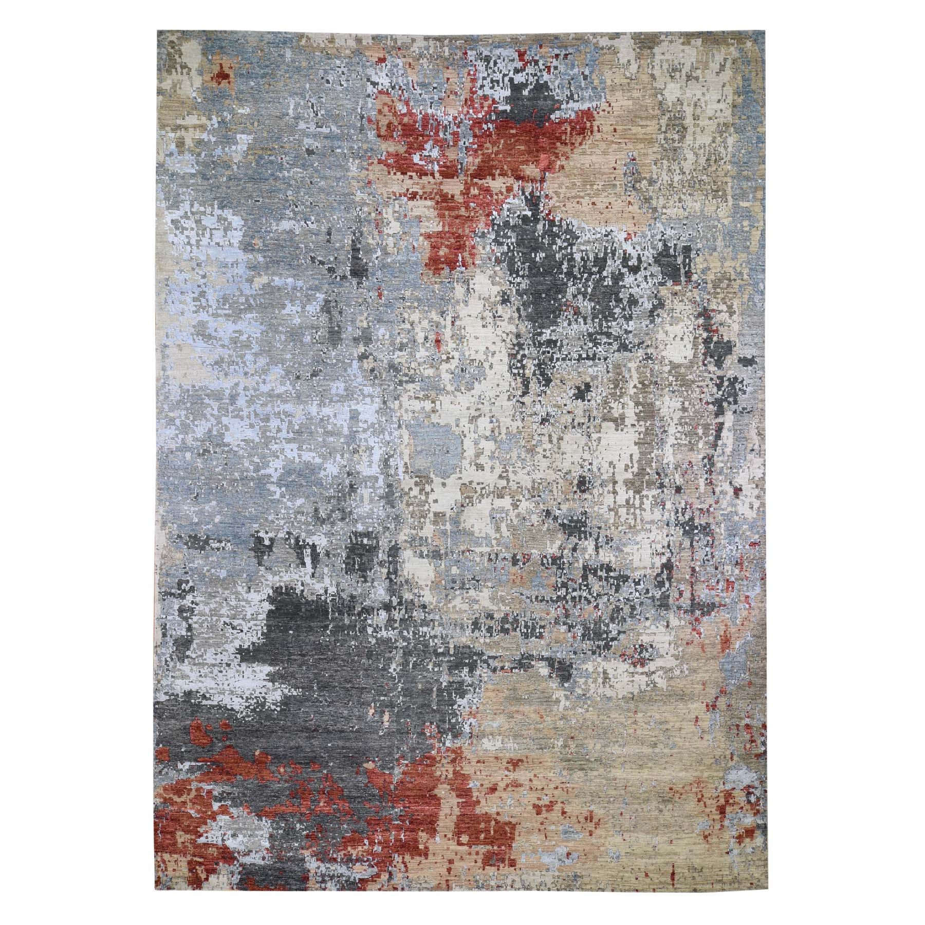 10'X14' Red Abstract Design Wool And Silk Hi-Low Pile Persian Knot Hand Knotted Oriental Rug moad7679