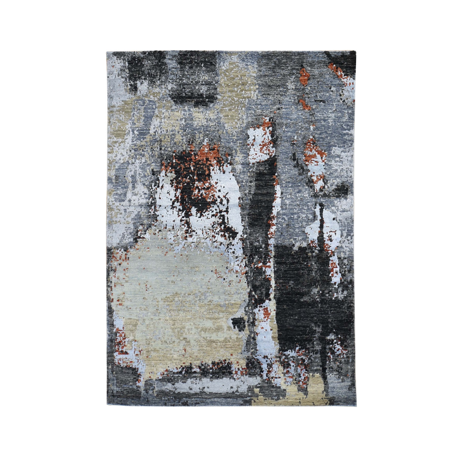 "4'2""X6'2"" Black Abstract Design Wool And Silk Hi-Low Pile Persian Knot Hand Knotted Oriental Rug moad7680"