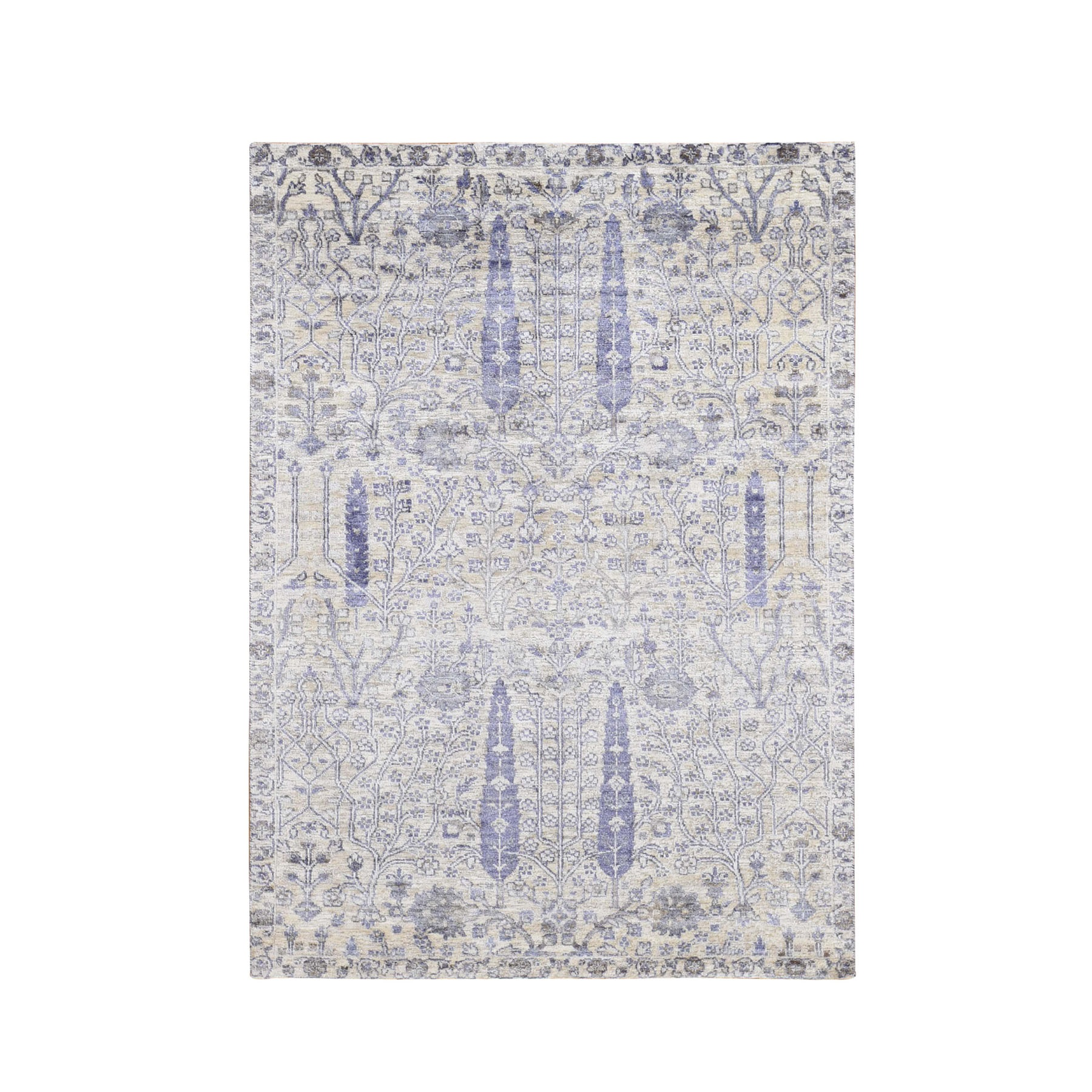 "4'X6'1"" Willow And Cypress Tree Design Silk With Textured Wool Hand Knotted Oriental Rug moad768b"