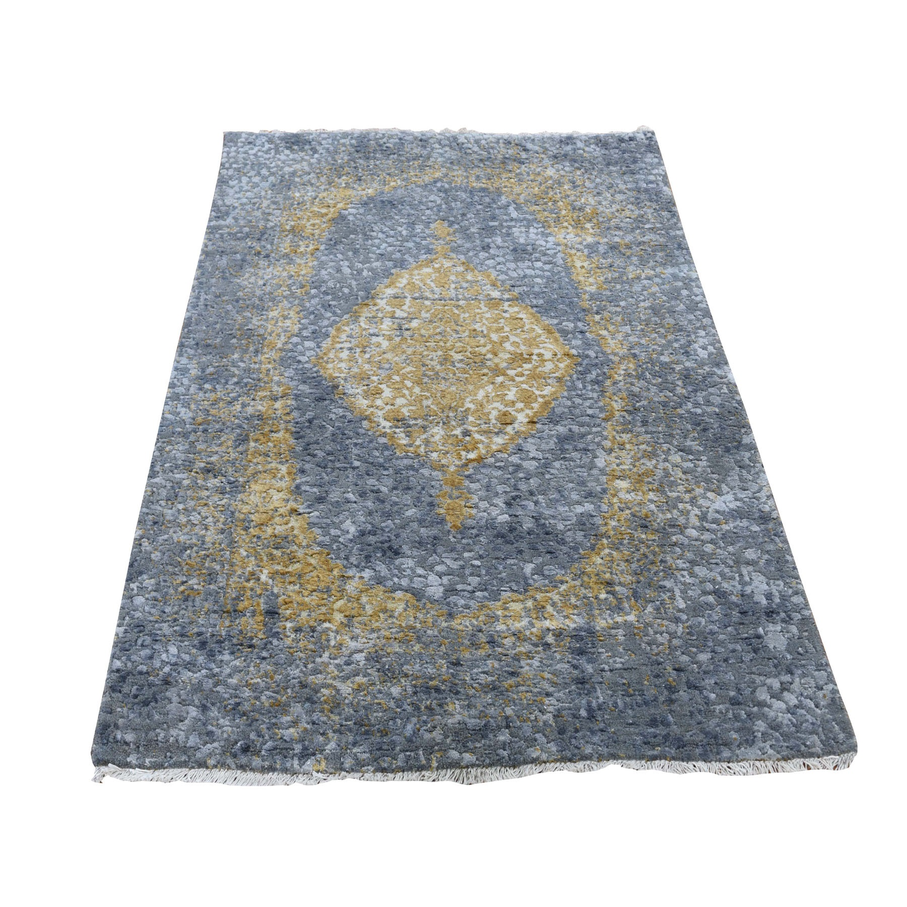 3'X5' Gray-Gold Persian Design Wool And Pure Silk Hand Knotted Oriental Rug moad768c