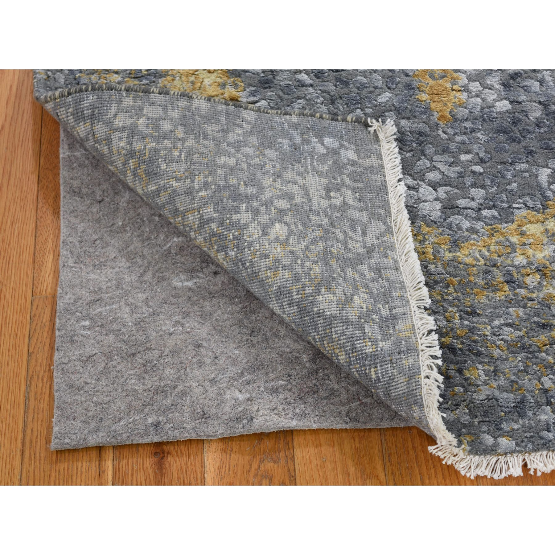 3 X5 Gray Gold Persian Design Wool And Pure Silk Hand