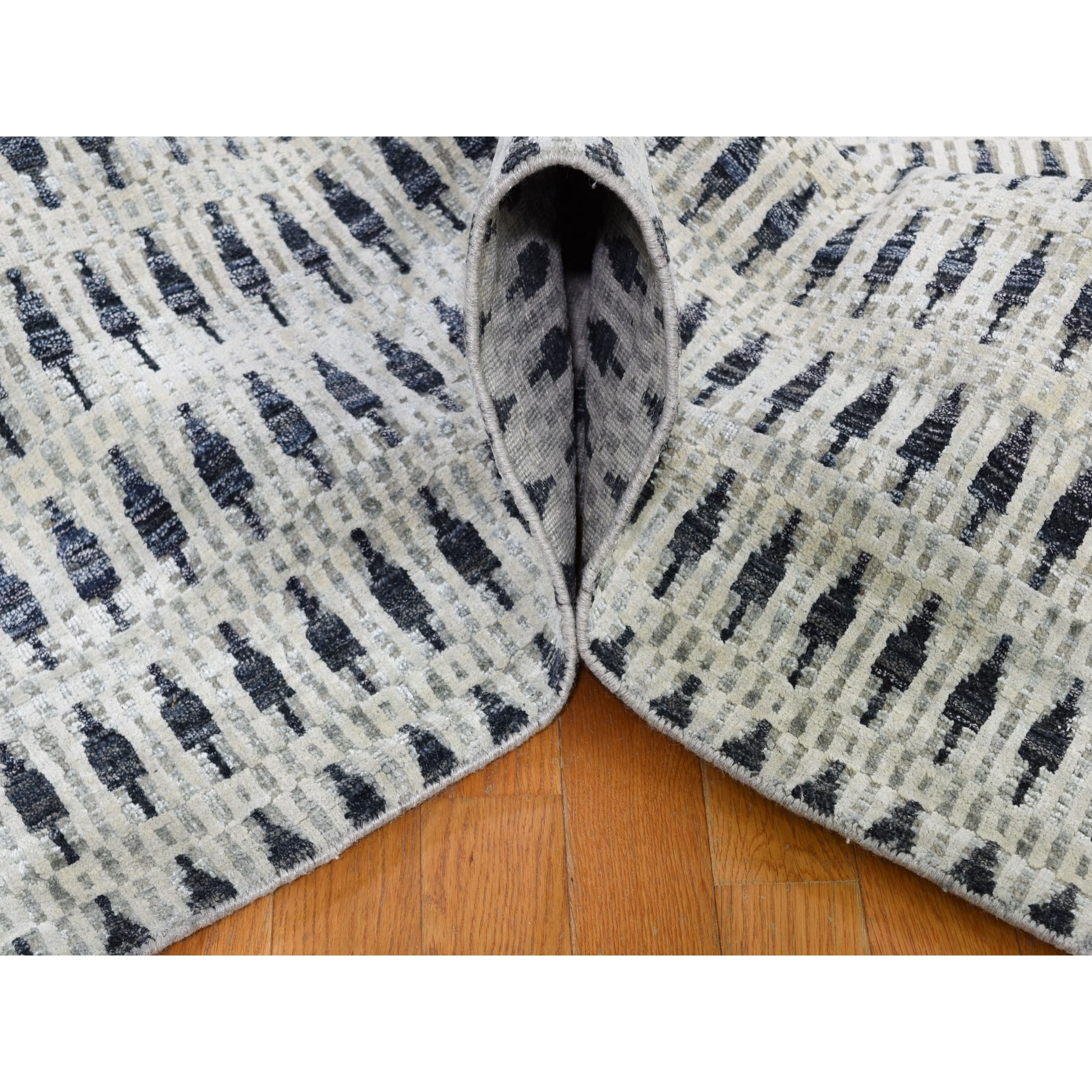 "8'10""x12'2"" THE SMALL TREES, Pure Silk with Textured Wool Gray Hand Knotted Oriental Rug"