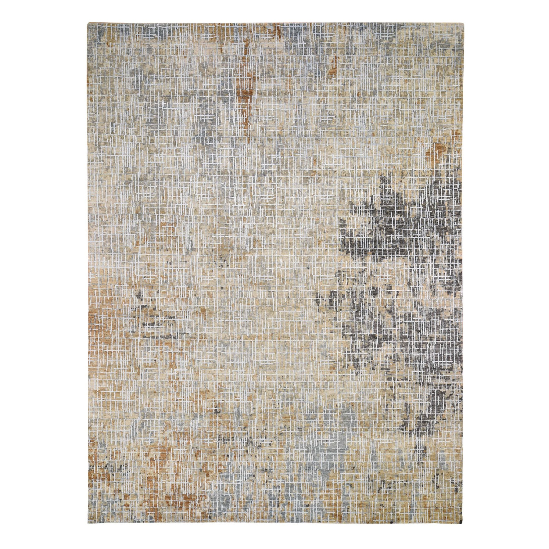 9'x12' Beige Abstract Design Wool and Silk Tight Knot Hand Knotted Oriental Rug
