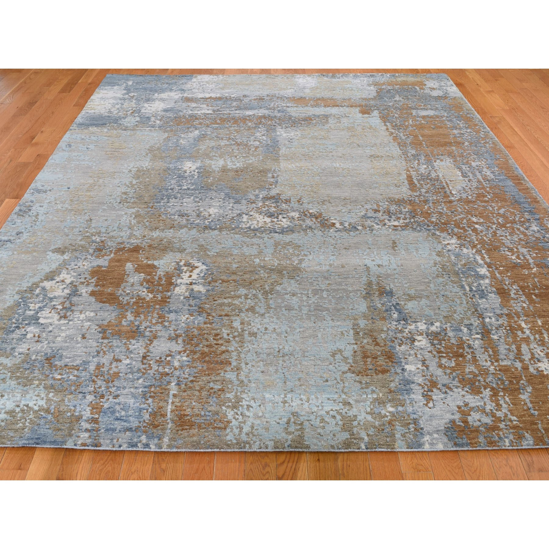8-x10- Honey Brown Abstract Design Wool and Silk Tight Knot Hand Knotted Oriental Rug