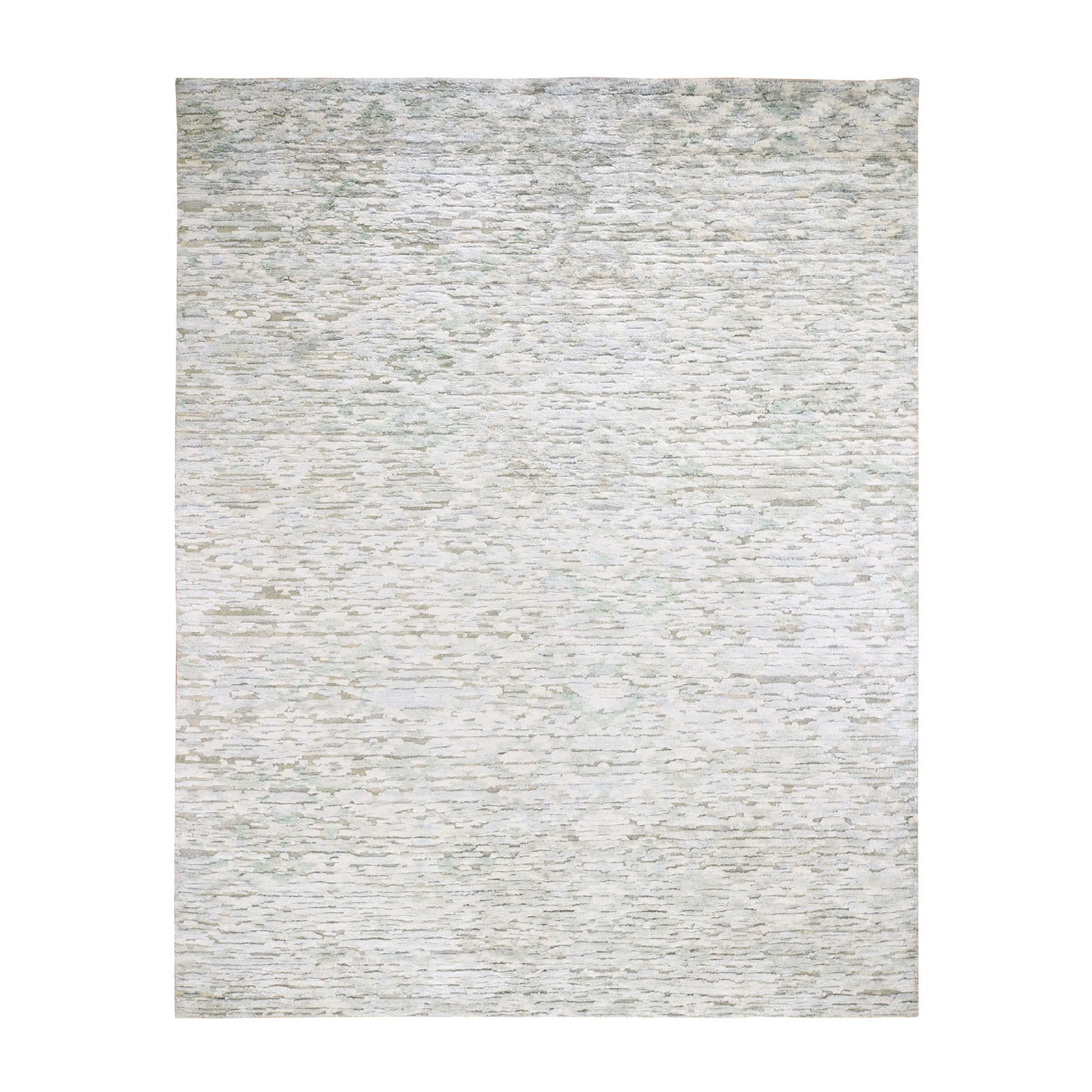8'x10'  Ivory Pure Silk Fluffy Collection Hand Knotted Modern Oriental Rug