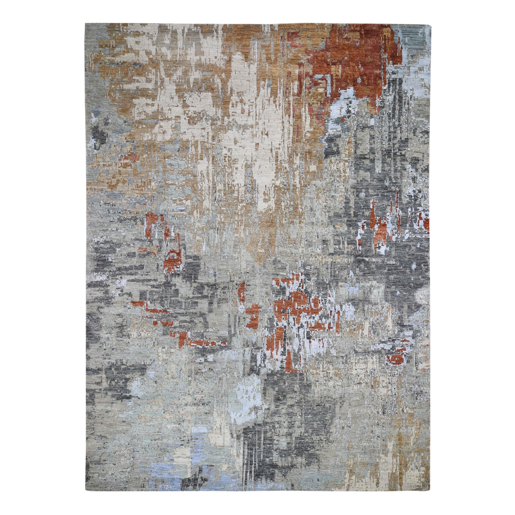 9'X12' Red Abstract Design Wool And Silk Hi-Low Pile Denser Weave Hand Knotted Oriental Rug moad769e
