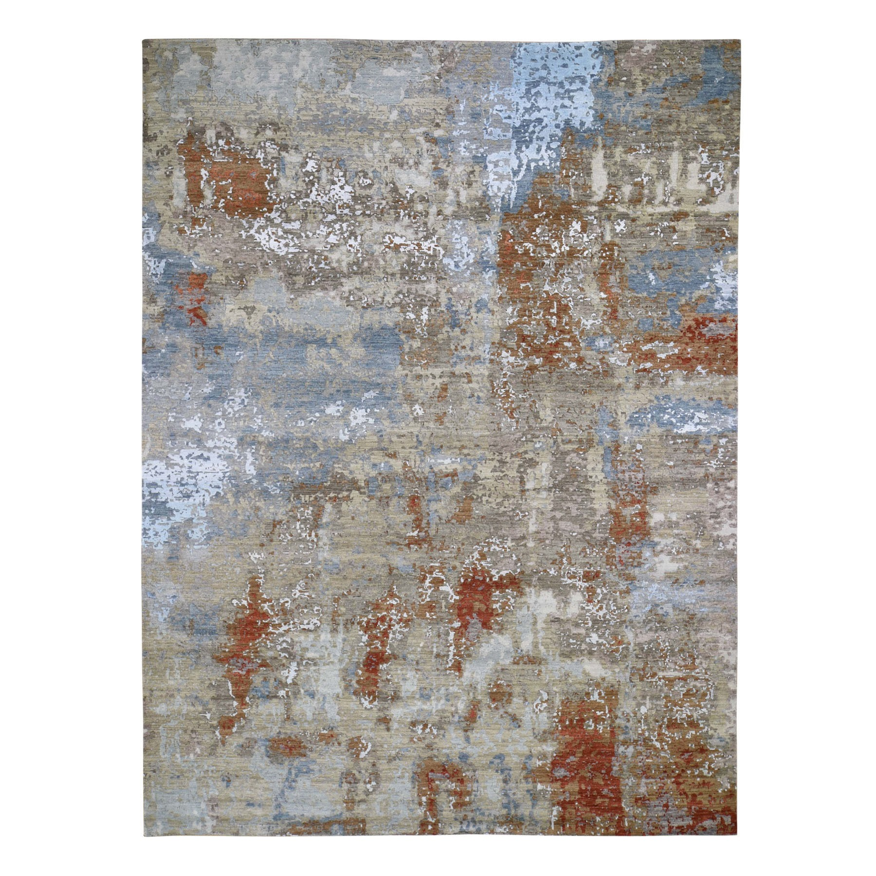 "9'x12'3"" Terracotta Abstract Design Wool and Silk Hi-Low Pile Tight Knot Hand Knotted Oriental Rug"