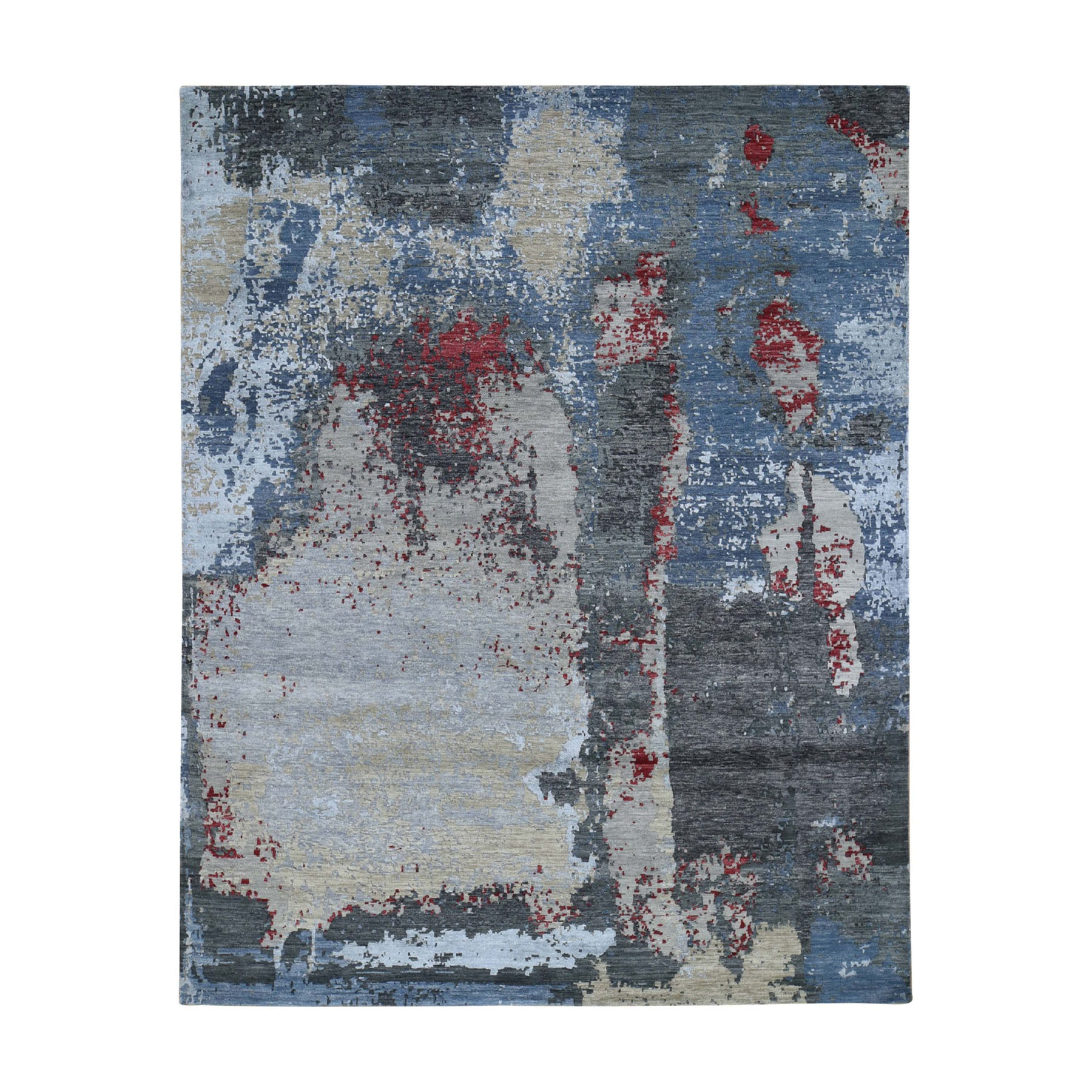 "8'x10'1"" Black Abstract Design Wool and Silk Hi-Low Pile Tight Knot Hand Knotted Oriental Rug"