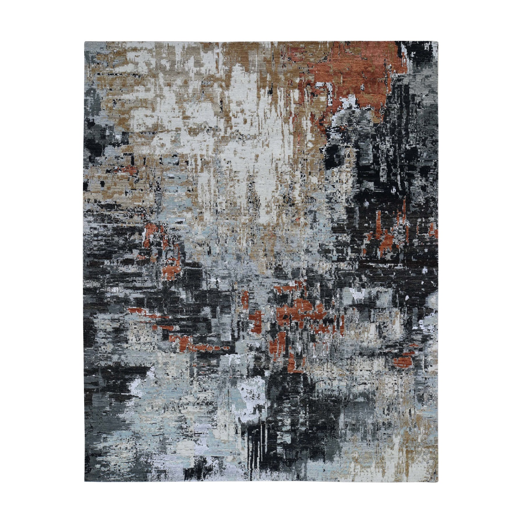 """8'1""""x10' Red Abstract Design Wool and Silk Hi-Low Pile Tight Knot Hand Knotted Oriental Rug"""