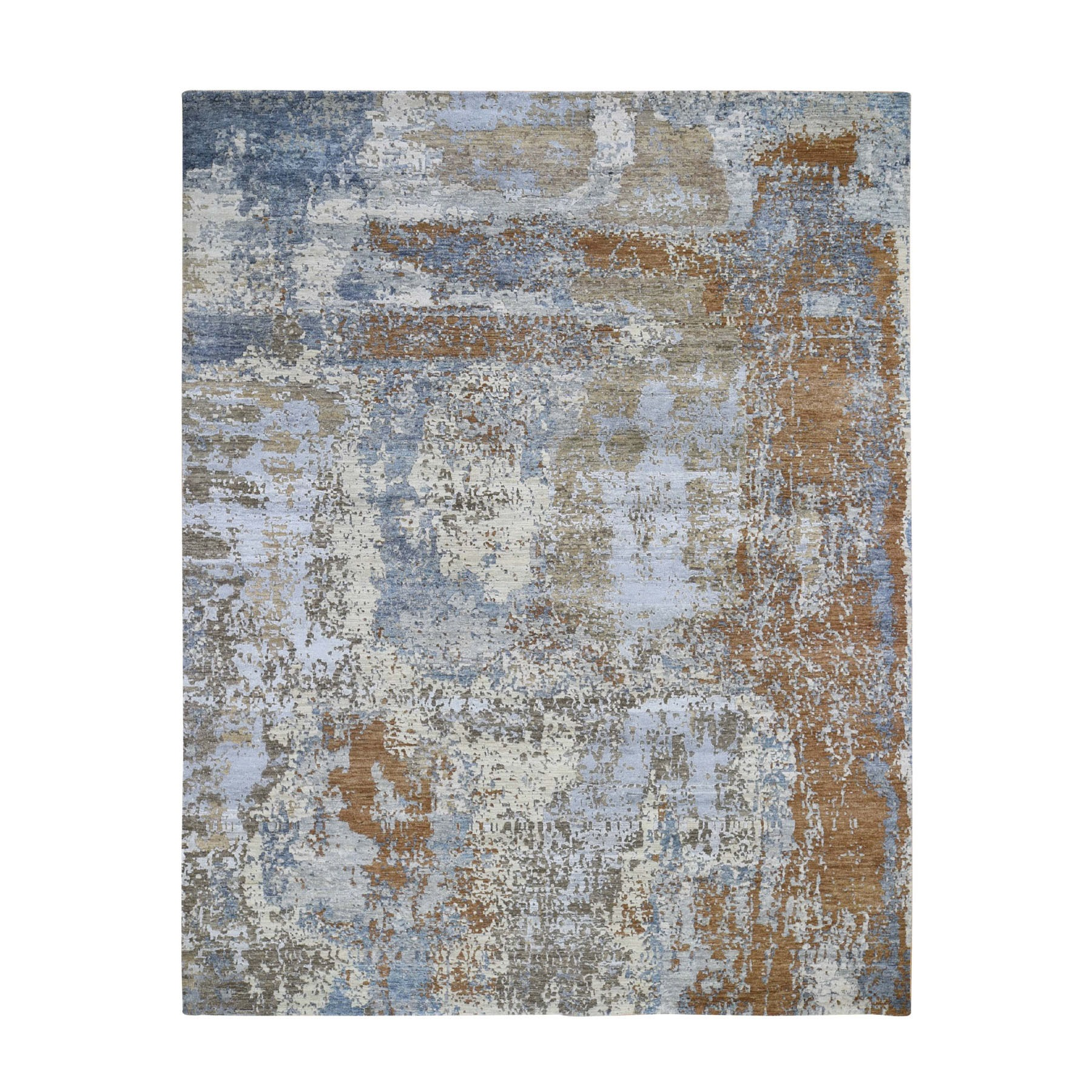 8'x10' Honey Brown Abstract Design Wool and Silk Tight Knot Hand Knotted Oriental Rug 47700
