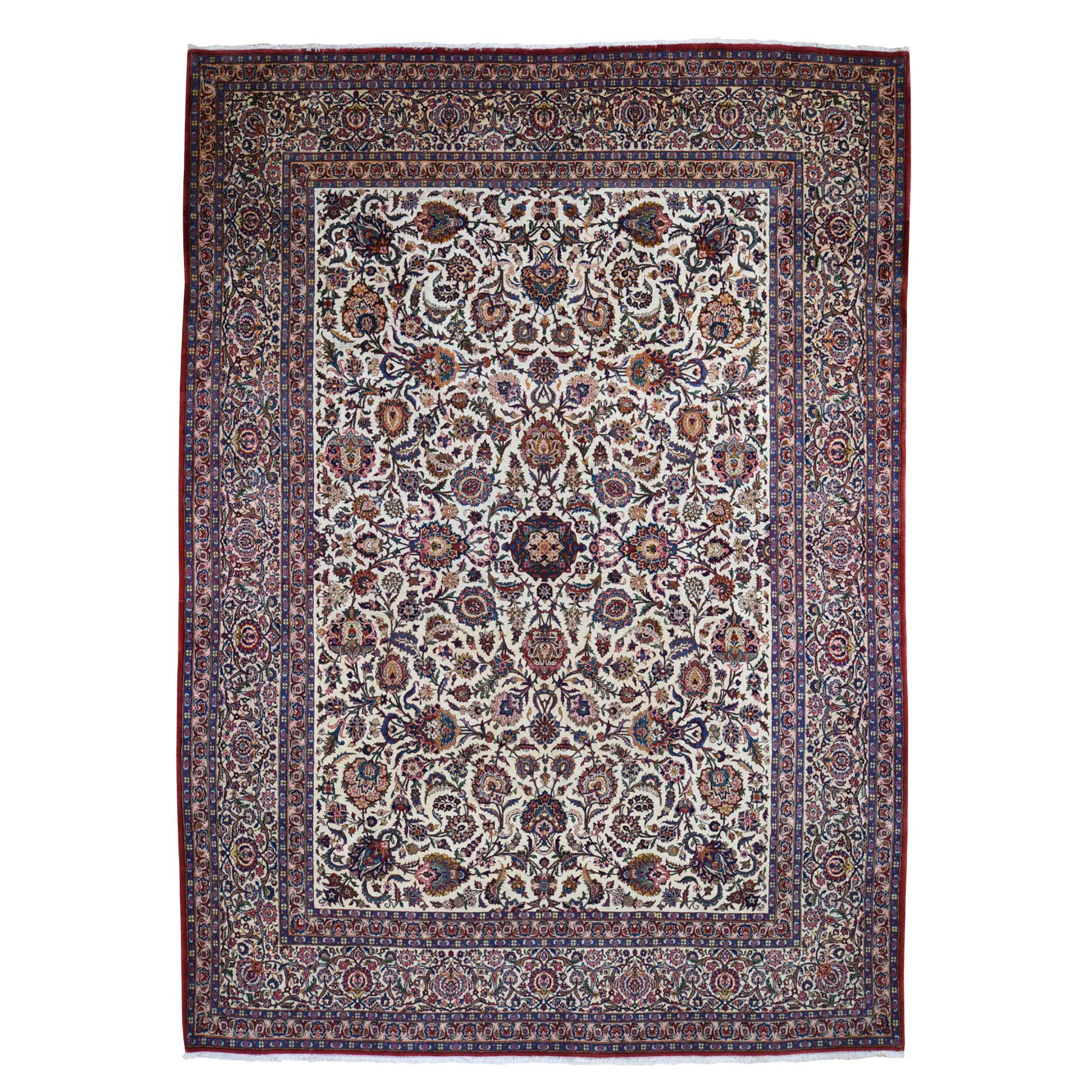 "8'10""X12'2"" Ivory Antique Persian Kashan Full Pile Exc Condition Pure Wool Hand Knotted Oriental Rug moad770a"