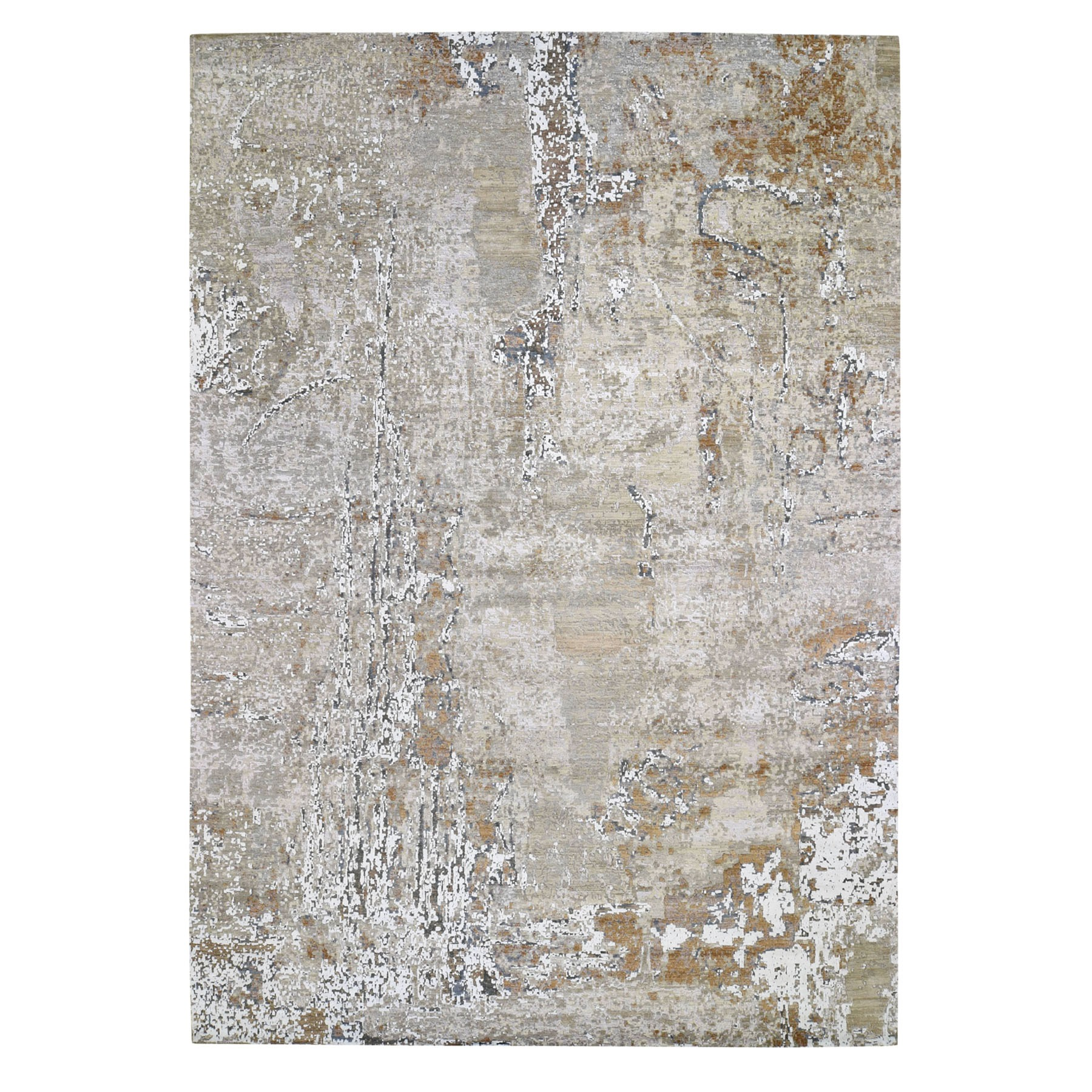 """10'X14'2"""" Gray Green Abstract Design Wool And Silk Hi-Low Pile Denser Weave Hand Knotted Oriental Rug moad770b"""