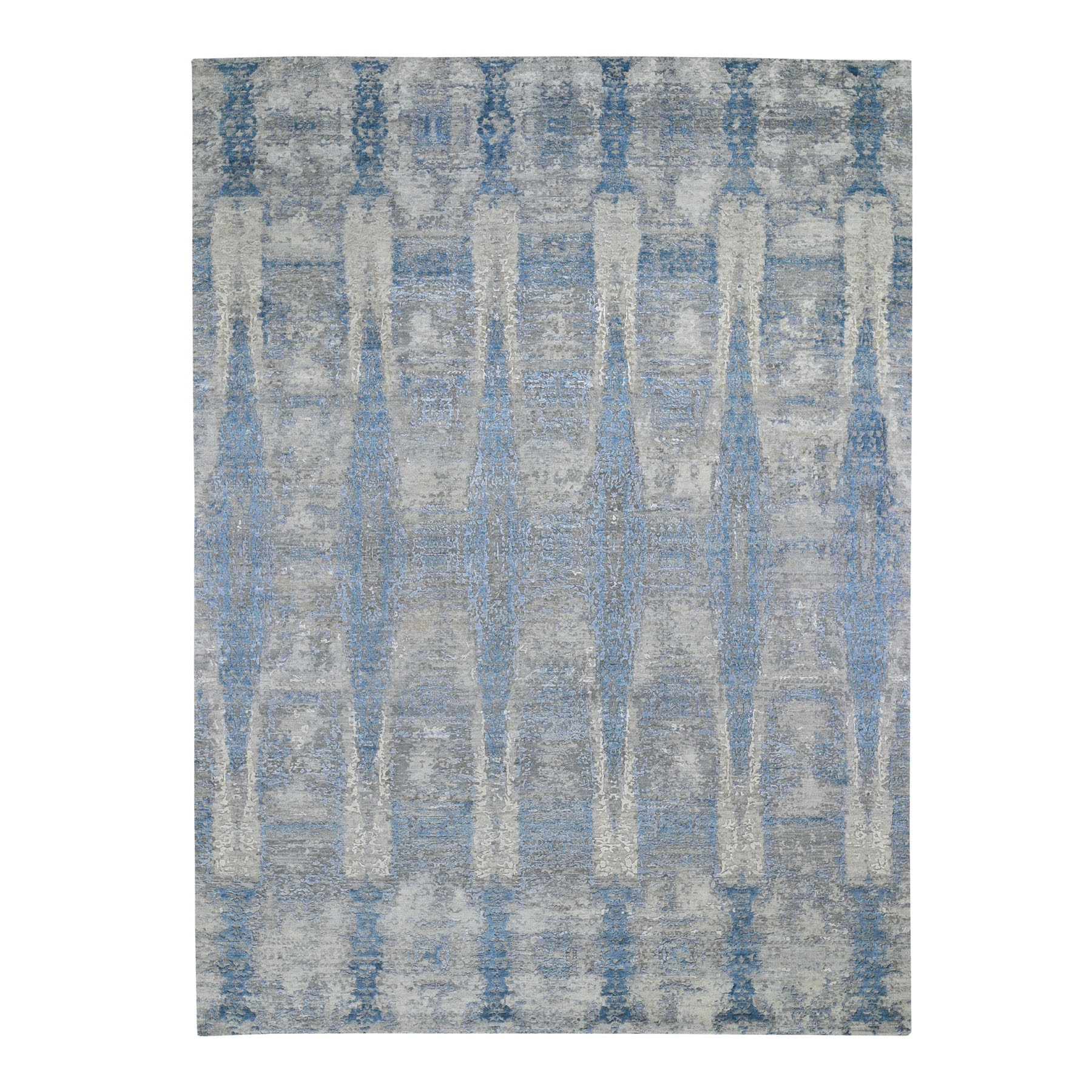 "8'10""x11'10"" THE EXPANDING TUBE Wool And Silk Denser Weave Hand Knotted Oriental Rug"