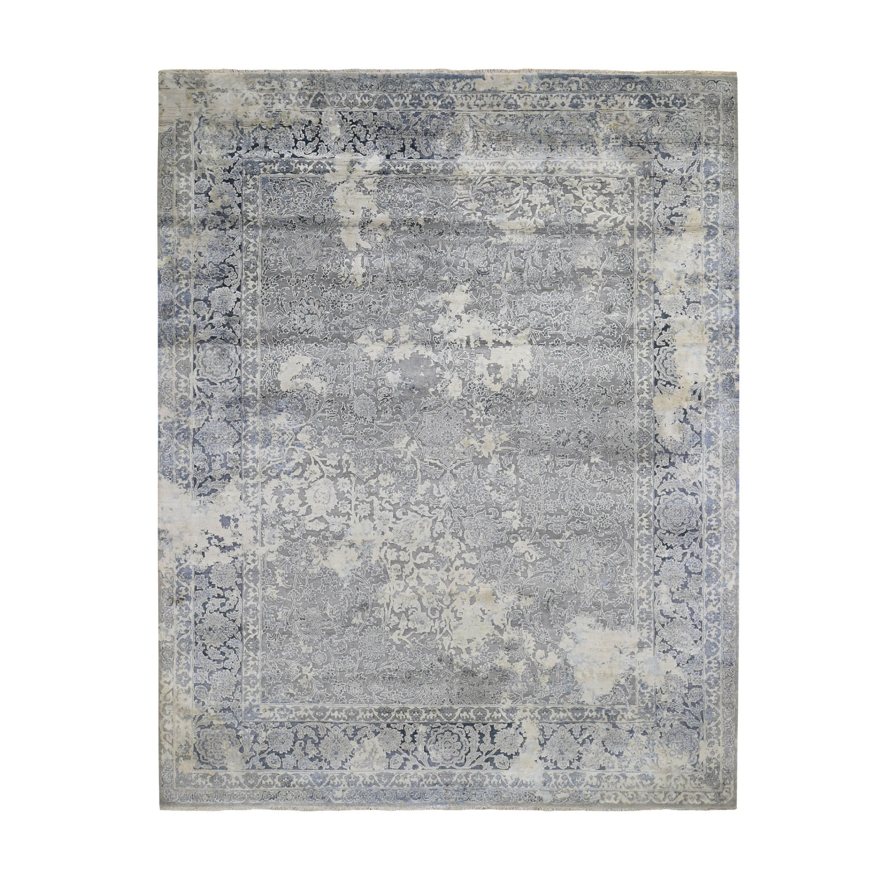 8'x10' Gray Broken Persian Design With Pure Silk Hand Knotted Oriental Rug