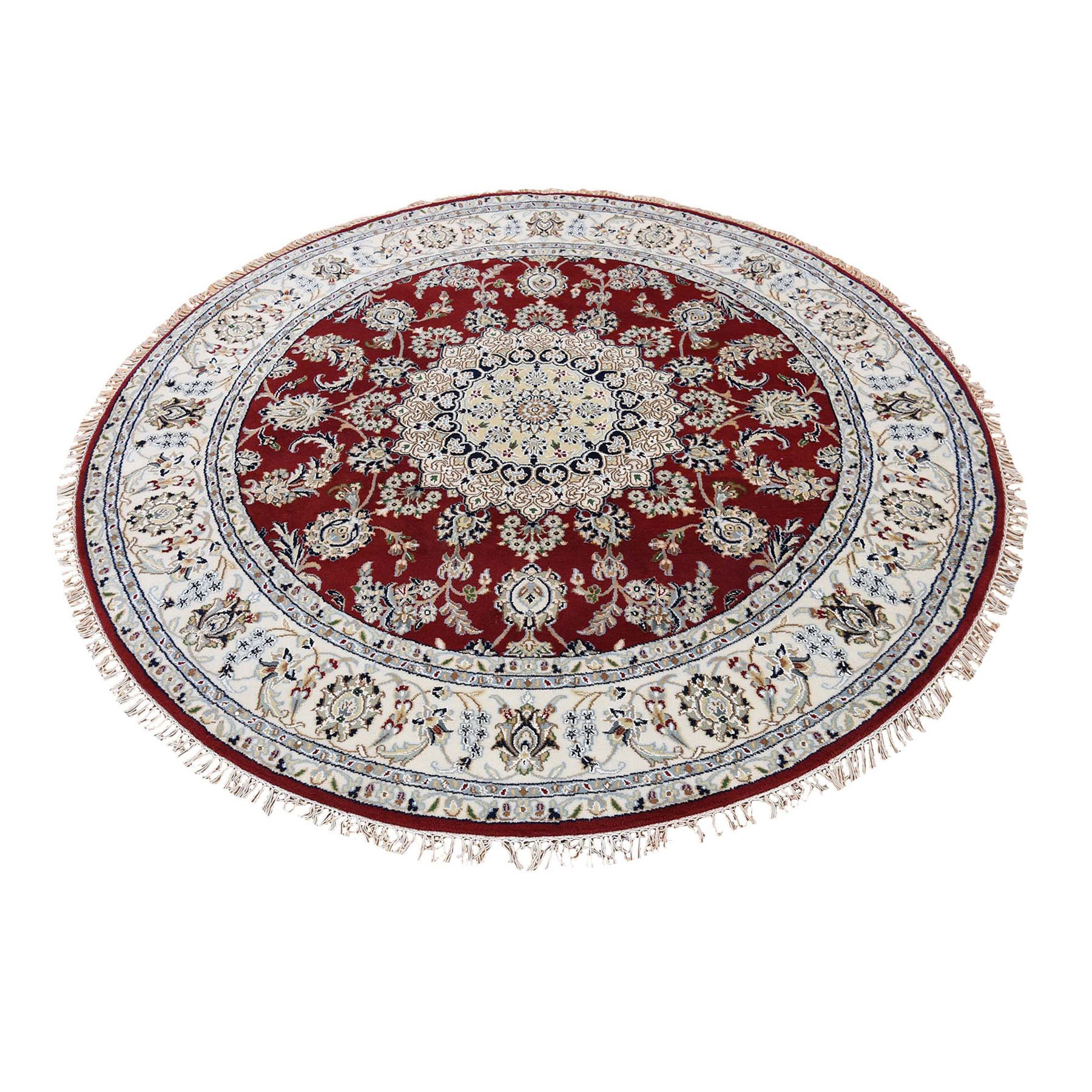 "8'1""x8'2"" Red Round Nain Wool And Silk 250 KPSI Hand Knotted Oriental Rug"